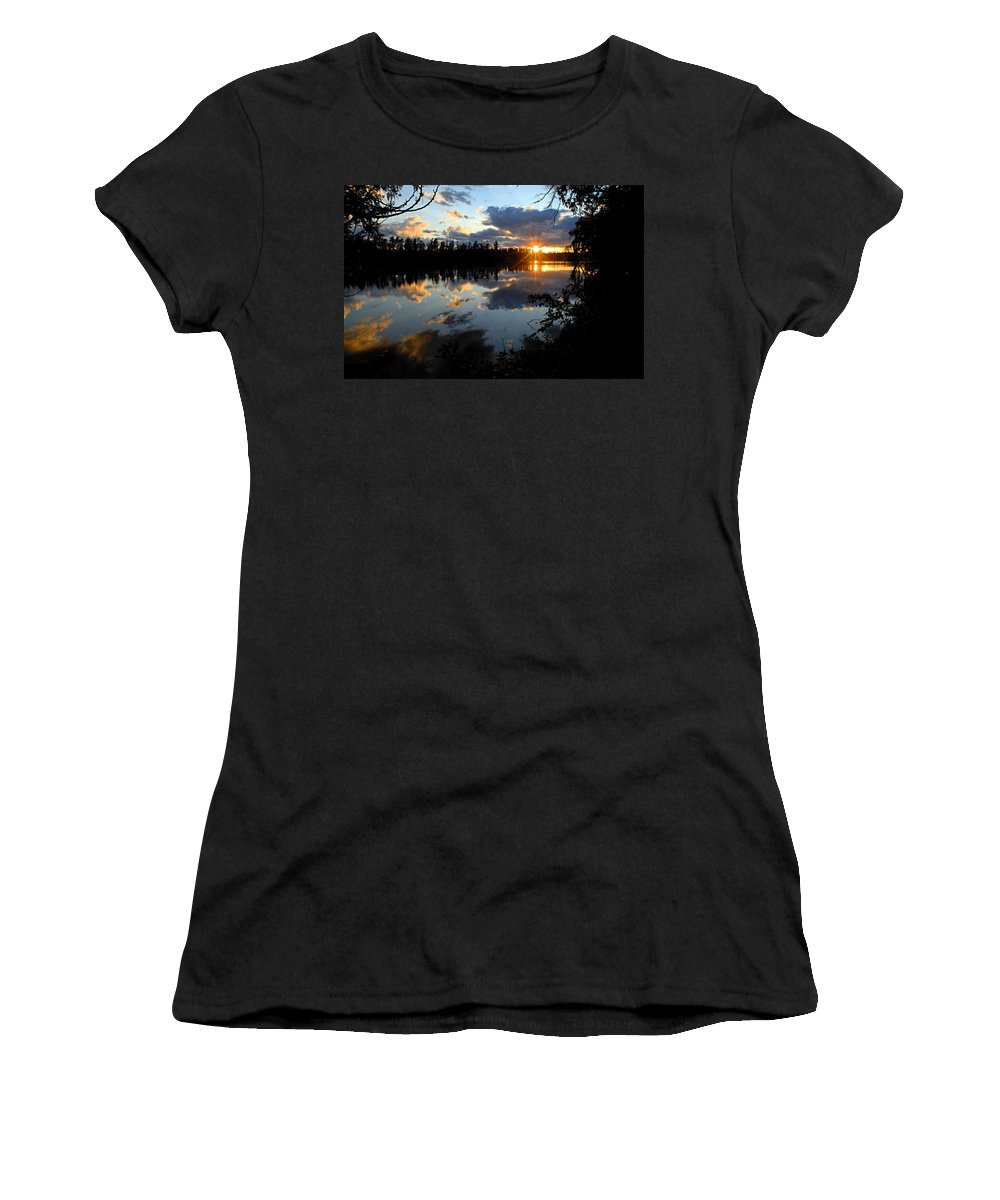 Boundary Waters Canoe Area Wilderness Women's T-Shirt (Athletic Fit) featuring the photograph Sunset On Polly Lake by Larry Ricker