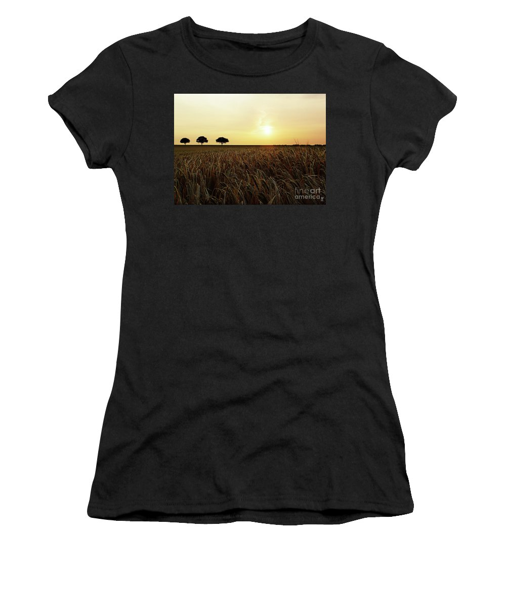 Sunset Women's T-Shirt (Athletic Fit) featuring the photograph Sunset Over Cornfield by Neil Finnemore