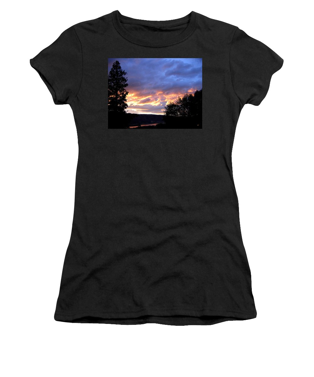 Sunset Women's T-Shirt (Athletic Fit) featuring the photograph Sunset Over Kalamalka by Will Borden