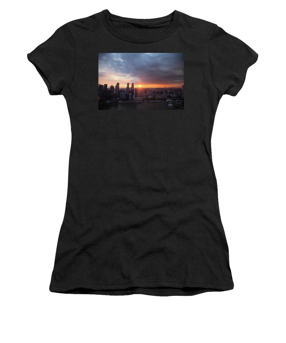 Landscape Women's T-Shirt featuring the photograph Sunset Over Singapore by Robert Mcgillivray