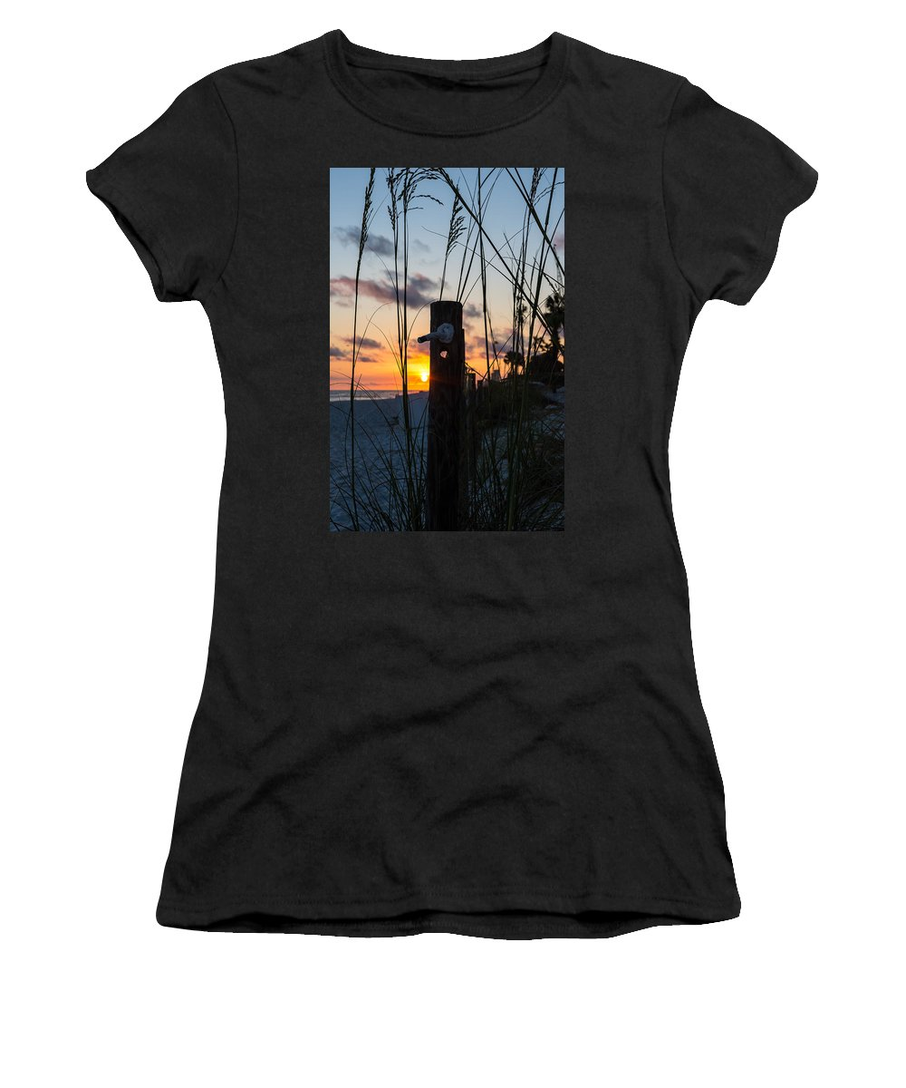 Sunset Women's T-Shirt (Athletic Fit) featuring the photograph Sunset Post by Shane Seymour