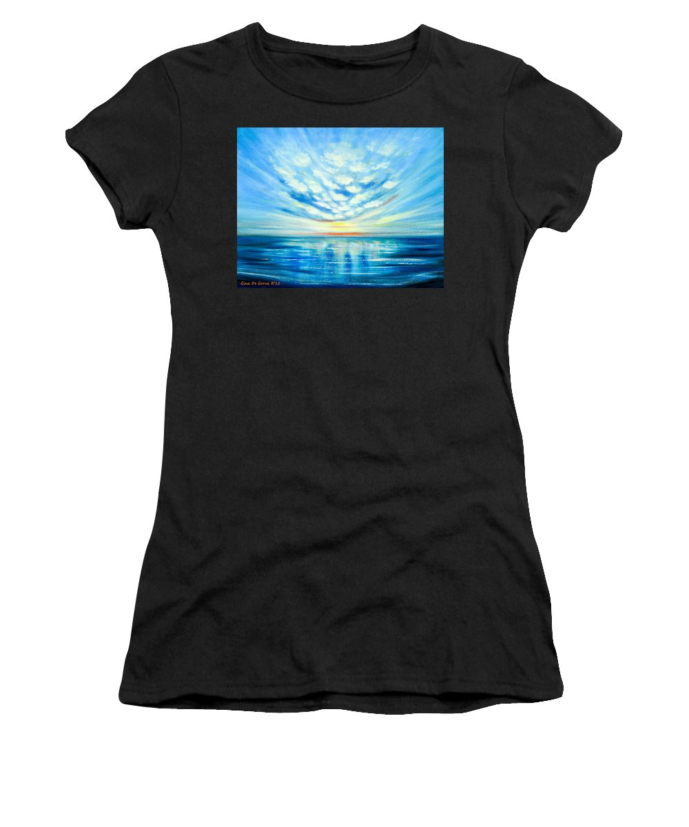 Blue Women's T-Shirt (Athletic Fit) featuring the painting Sunset Quest Blue by Gina De Gorna