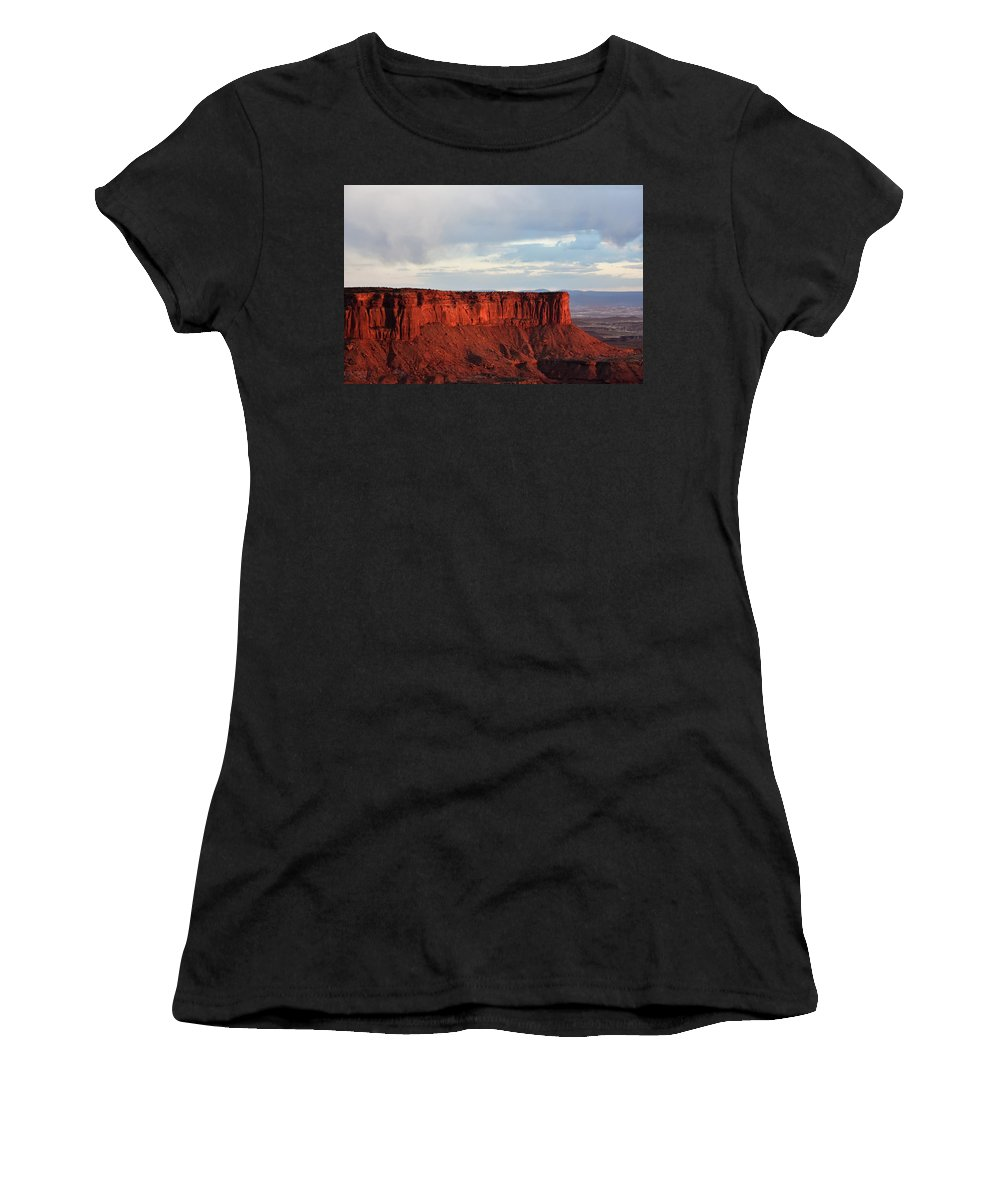 Butte Women's T-Shirt (Athletic Fit) featuring the photograph Sunset Rock by Flo McKinley