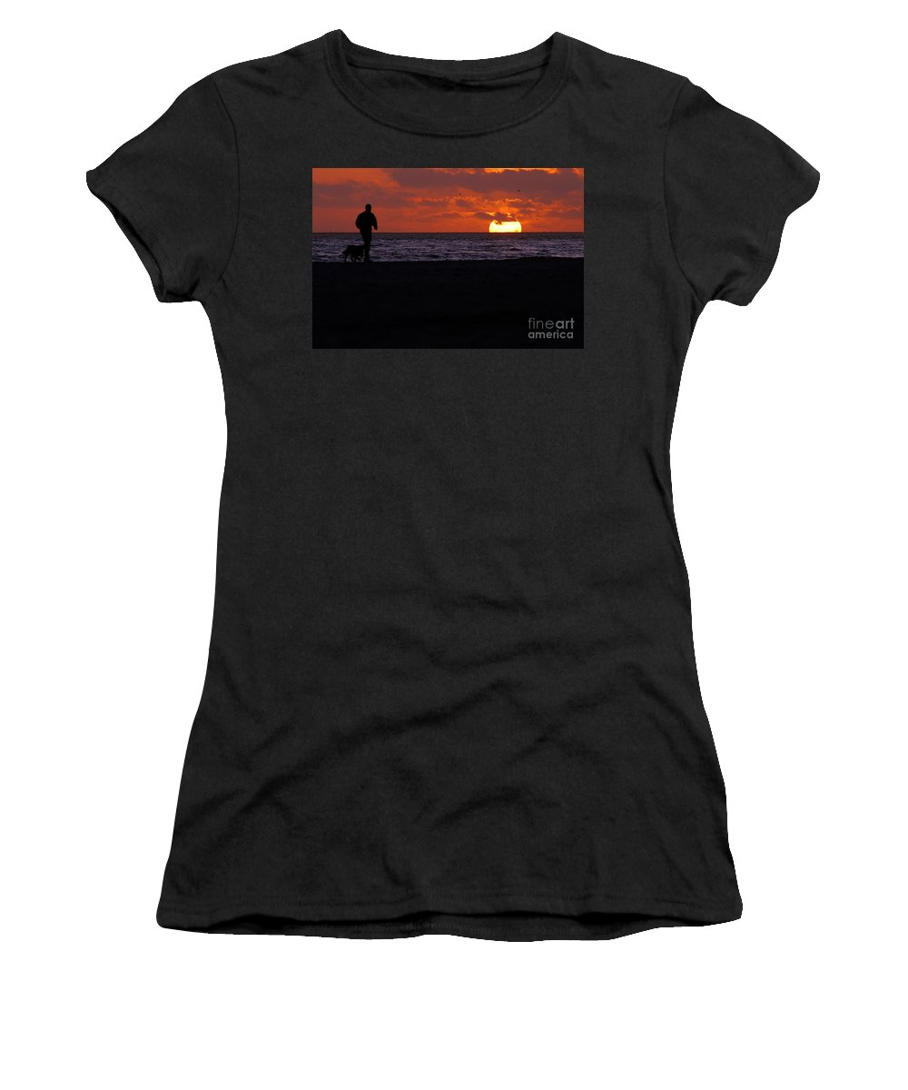 Clay Women's T-Shirt (Athletic Fit) featuring the photograph Sunset Run by Clayton Bruster