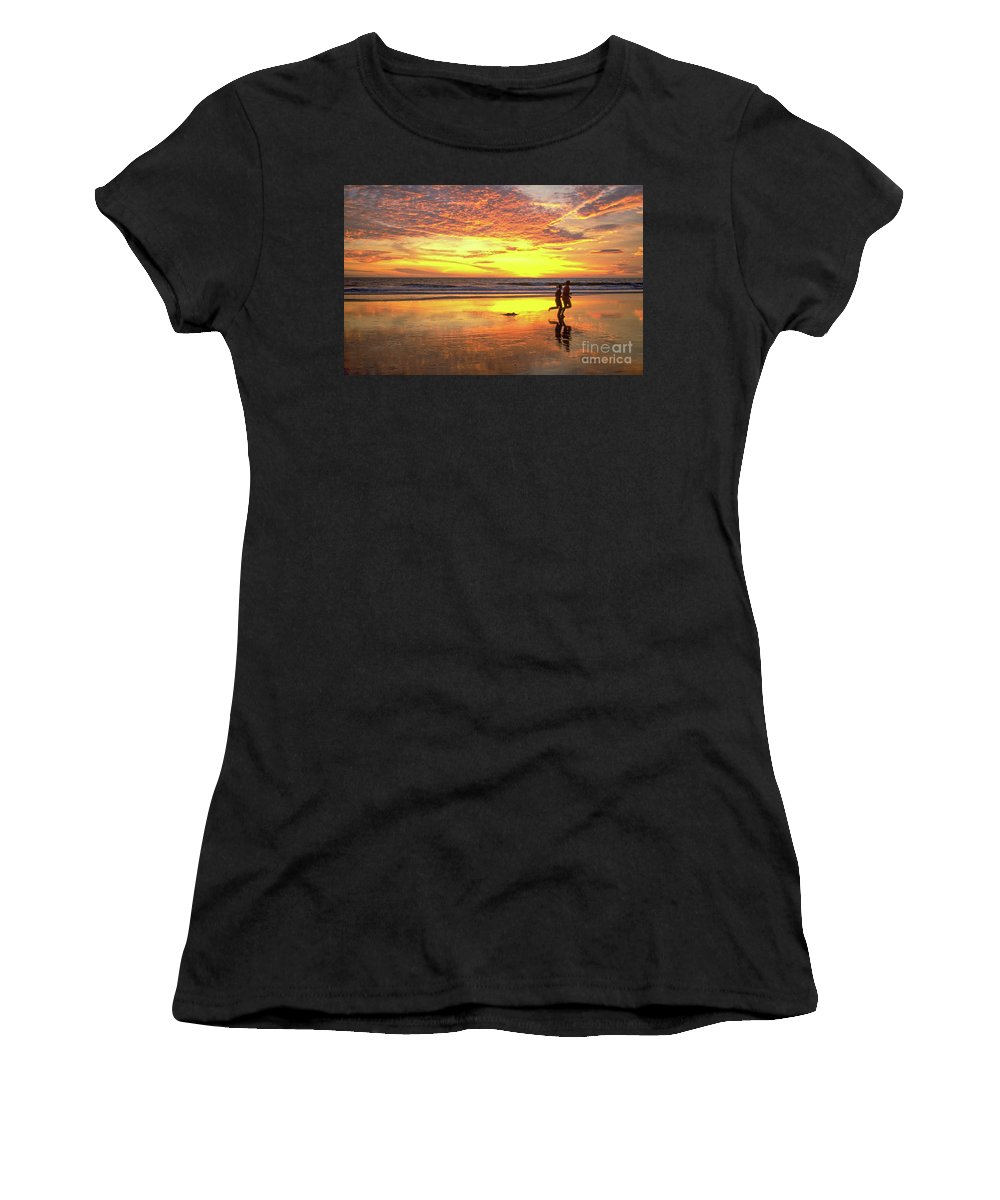 Sunset Women's T-Shirt featuring the photograph Sunset Ocean Runners by David Zanzinger