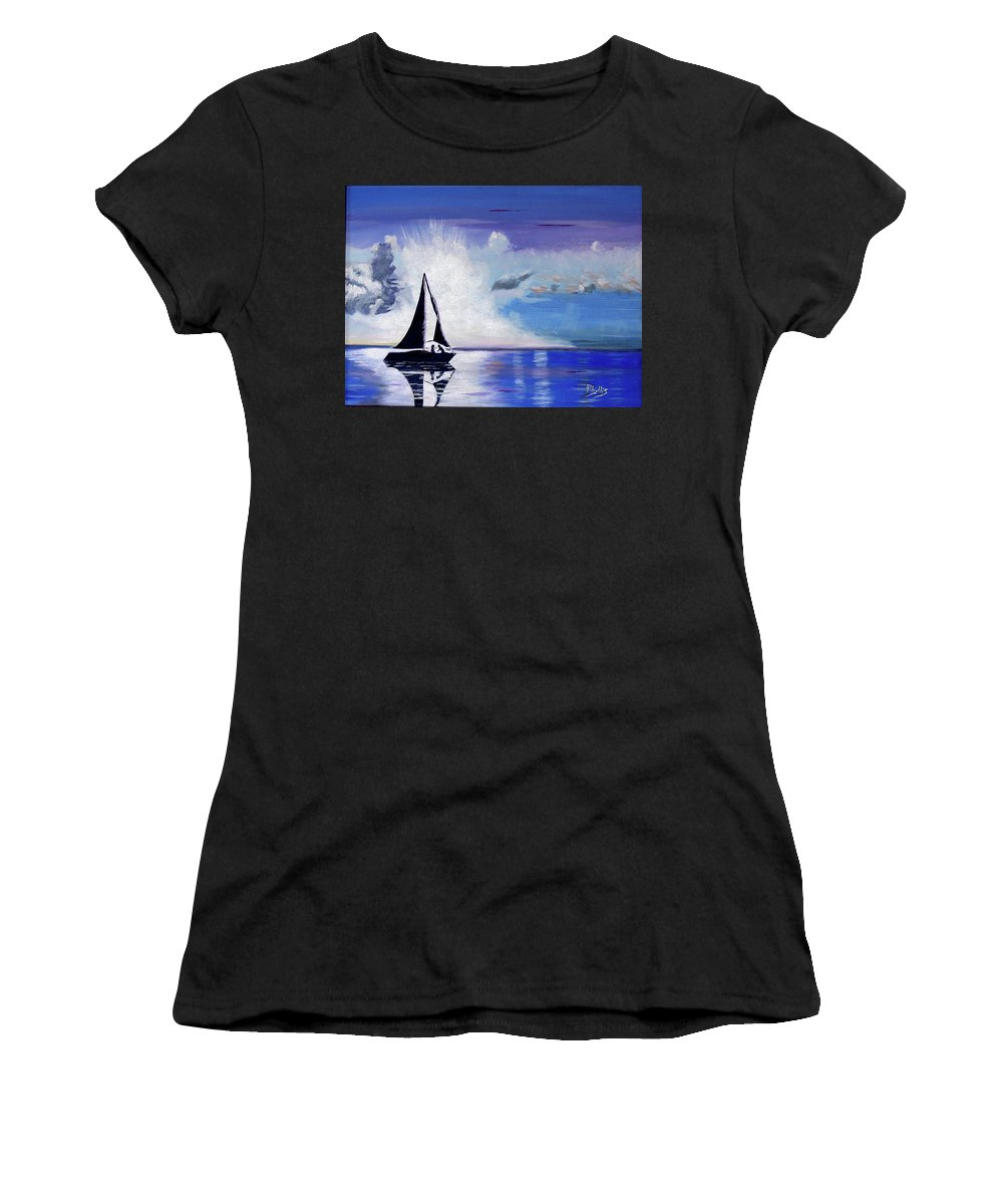 Sail Boat Women's T-Shirt featuring the painting Sunset Sail by Phyllis Kaltenbach