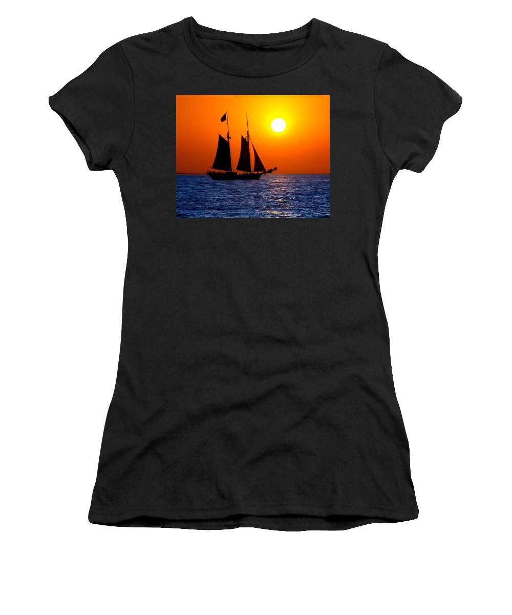Yellow Women's T-Shirt featuring the photograph Sunset Sailing In Key West Florida by Michael Bessler