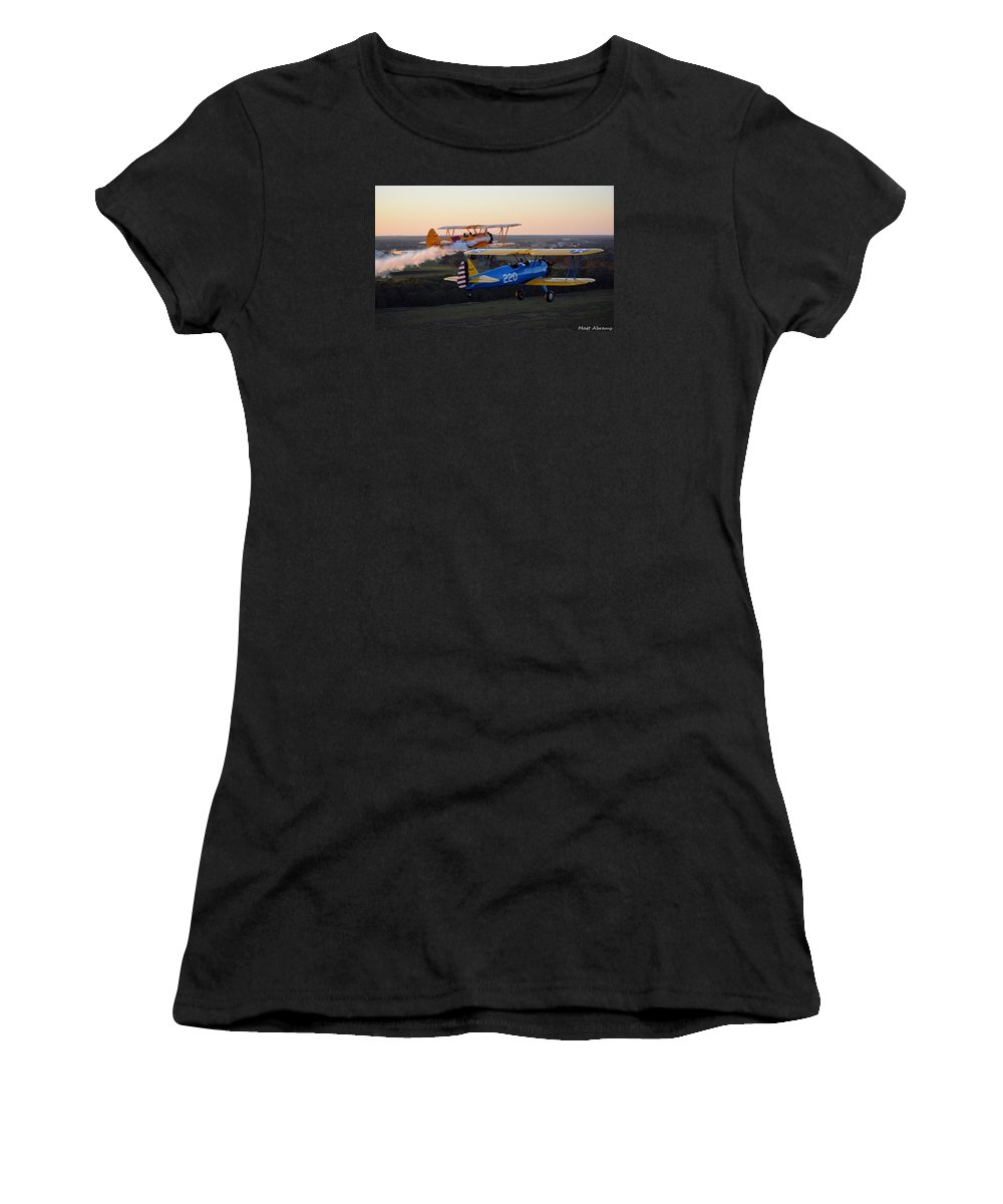 Boeing Stearman Women's T-Shirt (Athletic Fit) featuring the photograph Sunset Stearmans by Matt Abrams