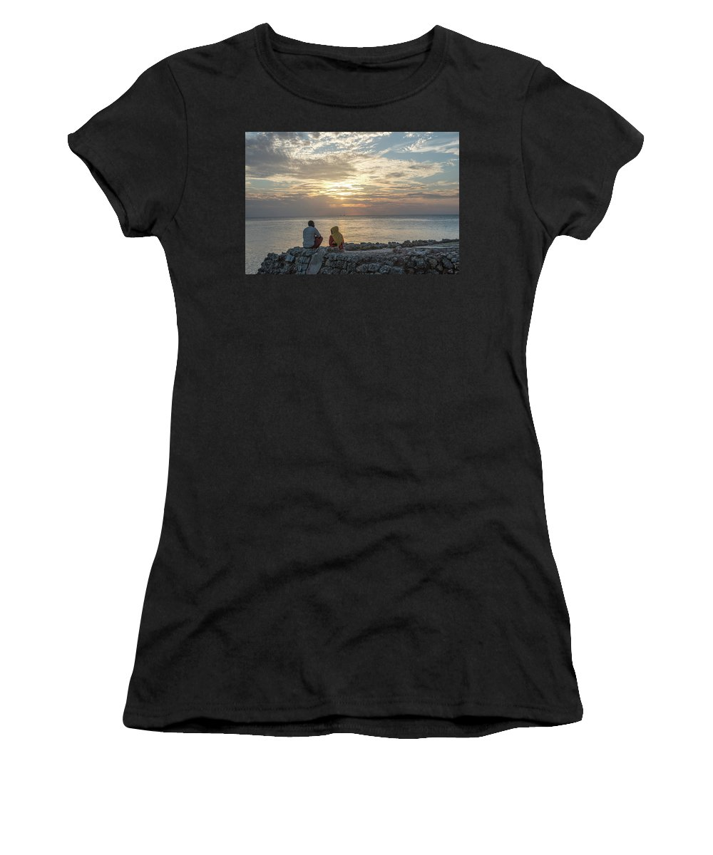 Tanzania Women's T-Shirt (Athletic Fit) featuring the photograph Sunset Stonetown Zanzibar by Gareth Pickering