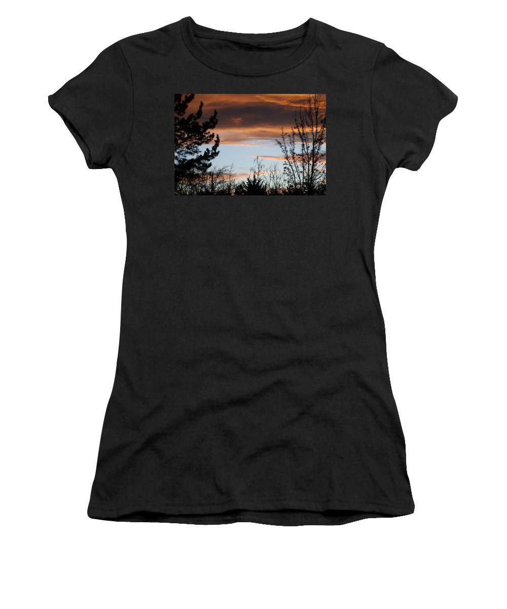 Sunset Women's T-Shirt (Athletic Fit) featuring the photograph Sunset Thru The Trees by Rob Hans