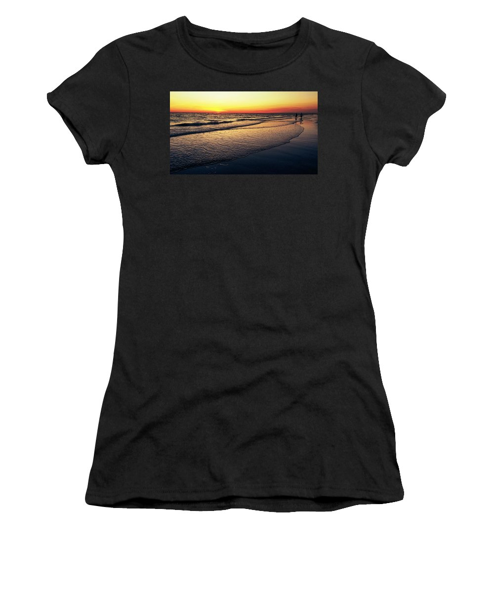 Women's T-Shirt (Athletic Fit) featuring the digital art Sunset Time On Sunset Beach by Alfred Blaho