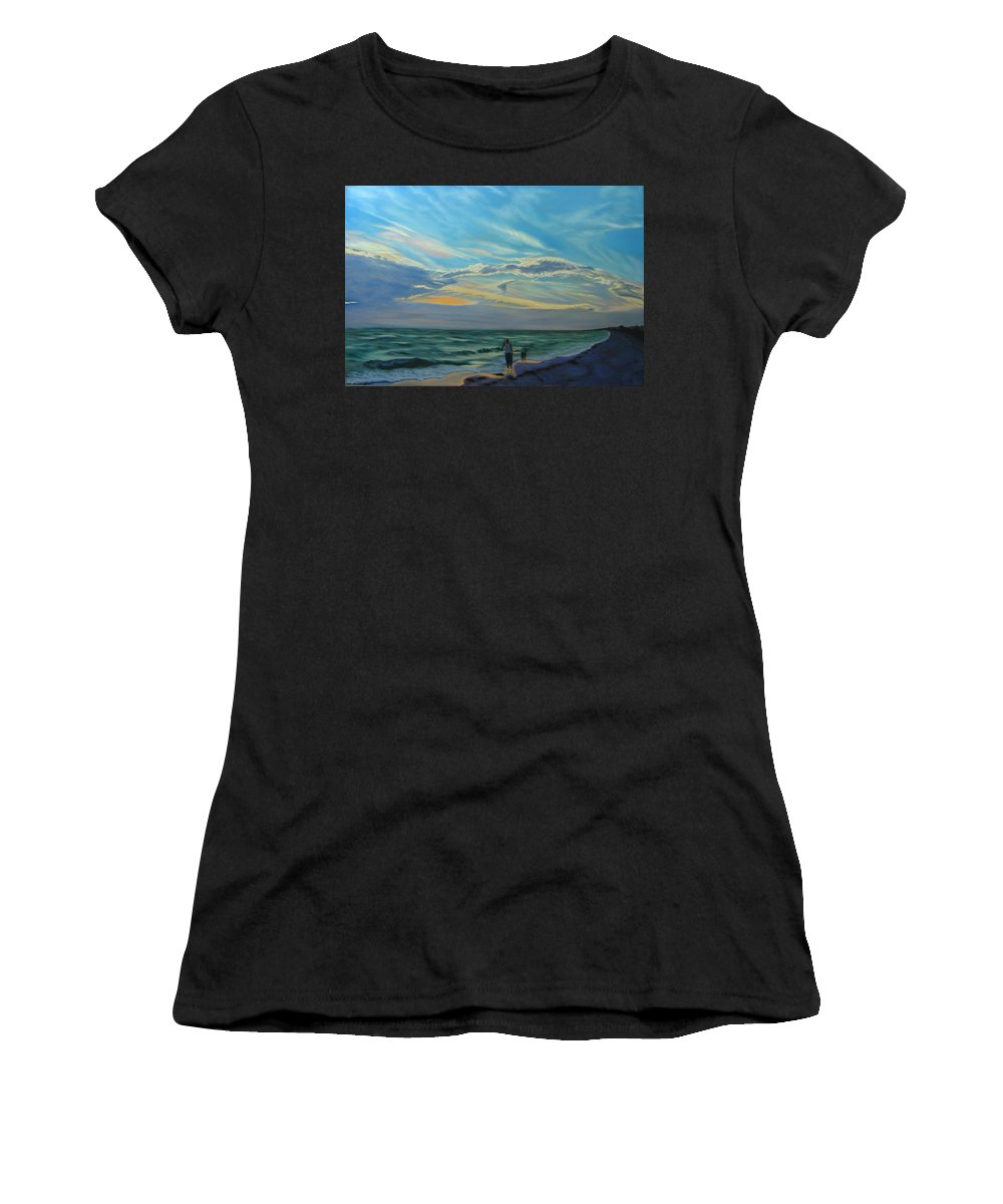 Seascape Women's T-Shirt (Athletic Fit) featuring the painting Sunset Treasure Hunt by Lea Novak