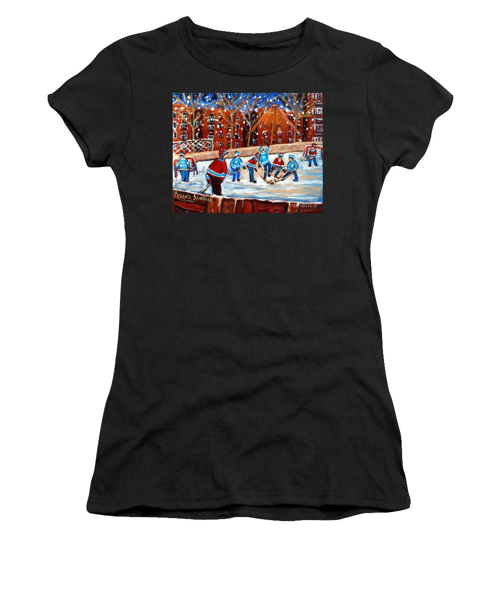 Kids Playing Hockey Women's T-Shirt (Athletic Fit) featuring the painting Sunsetting On My Street by Carole Spandau