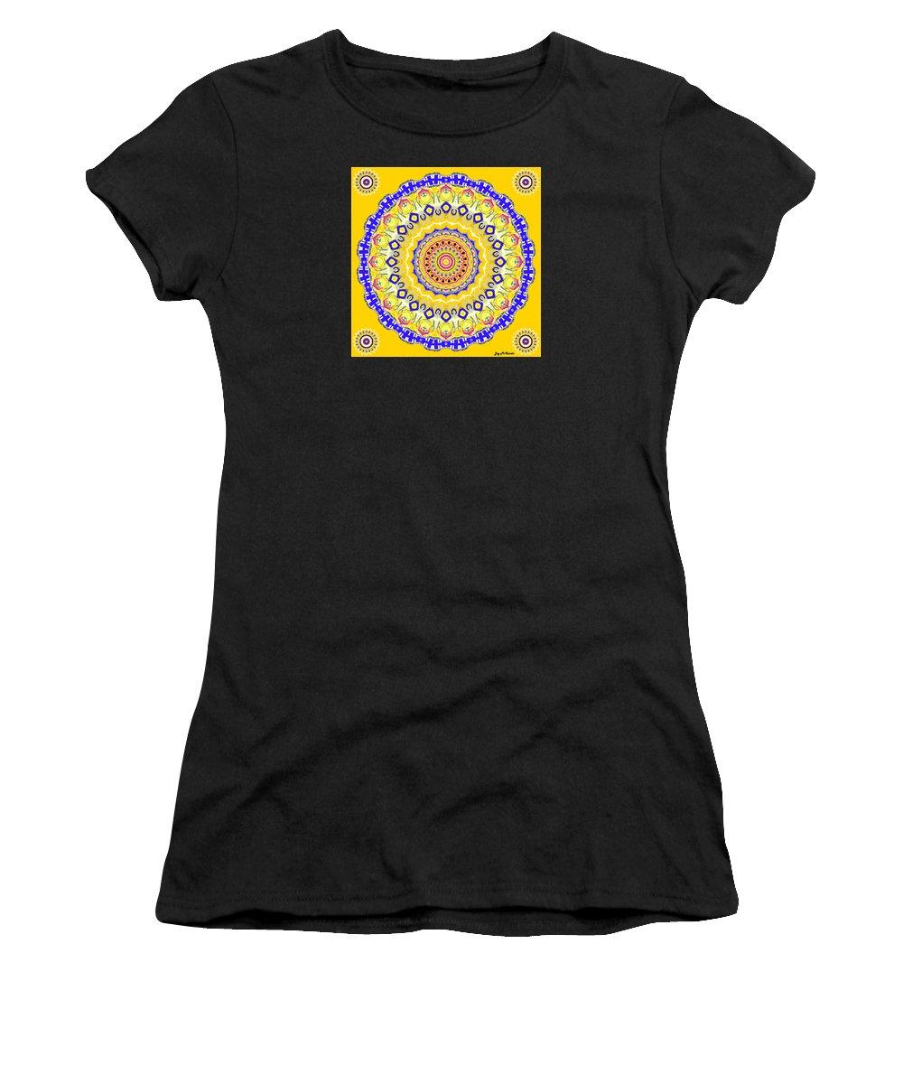 Digital Women's T-Shirt featuring the digital art Sunshine And Blue Skies Mandala by Joy McKenzie