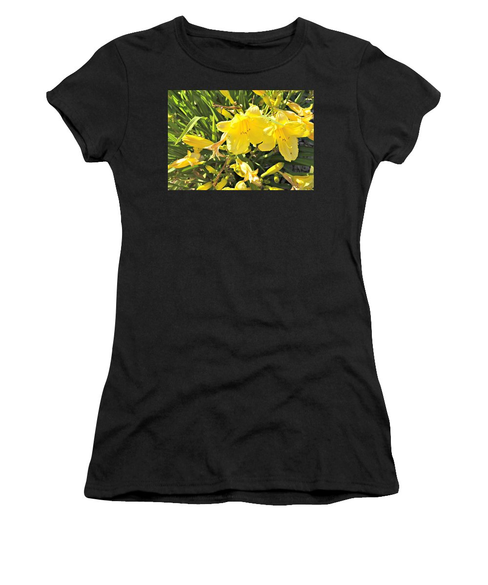 Sun Sunshine Flowers Yellow Women's T-Shirt (Athletic Fit) featuring the photograph Sunshine And Flowers by Brittany Williams