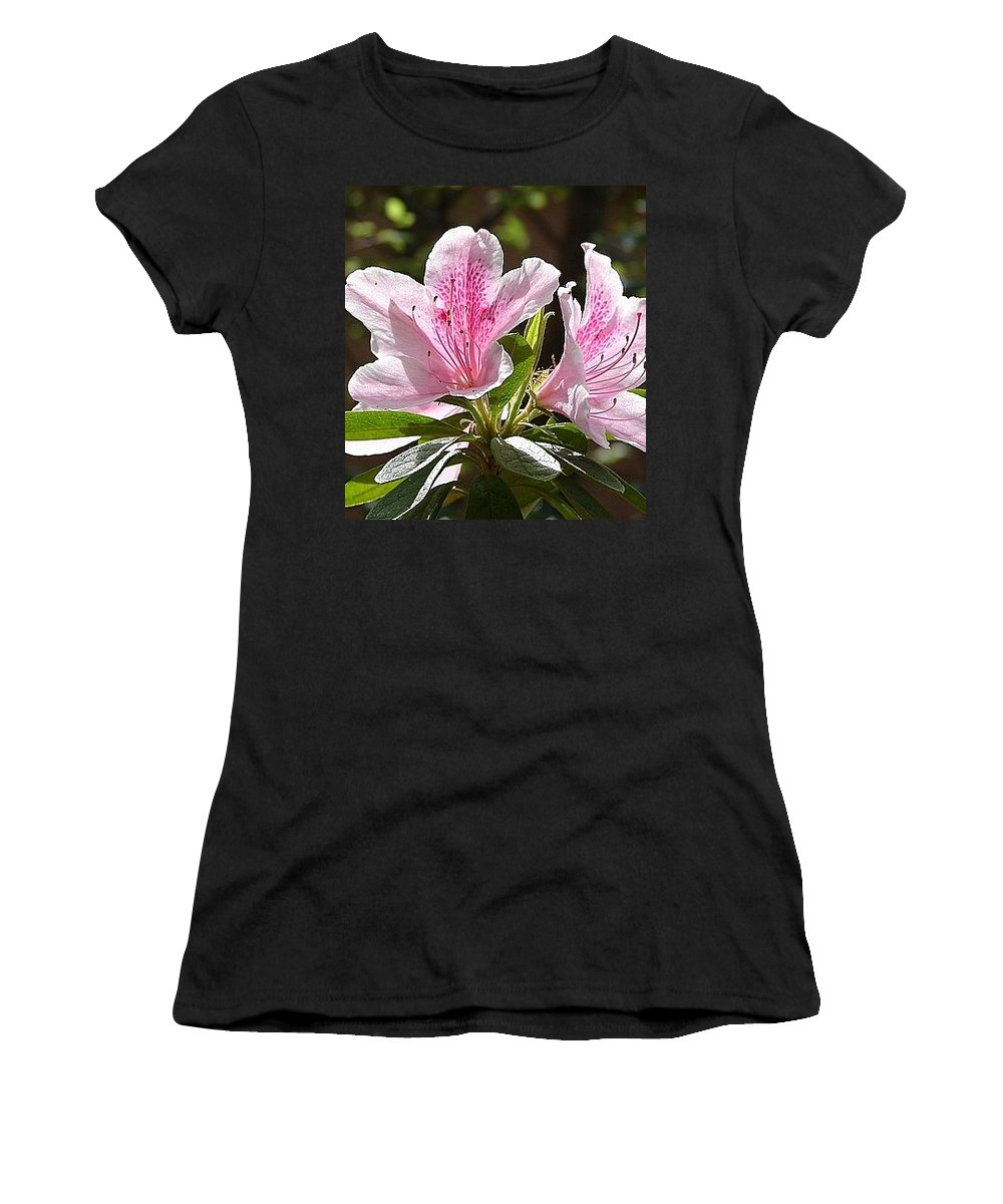 Lily Pinkgreen Pedals Leaves Women's T-Shirt (Athletic Fit) featuring the photograph Sunshine by Luciana Seymour