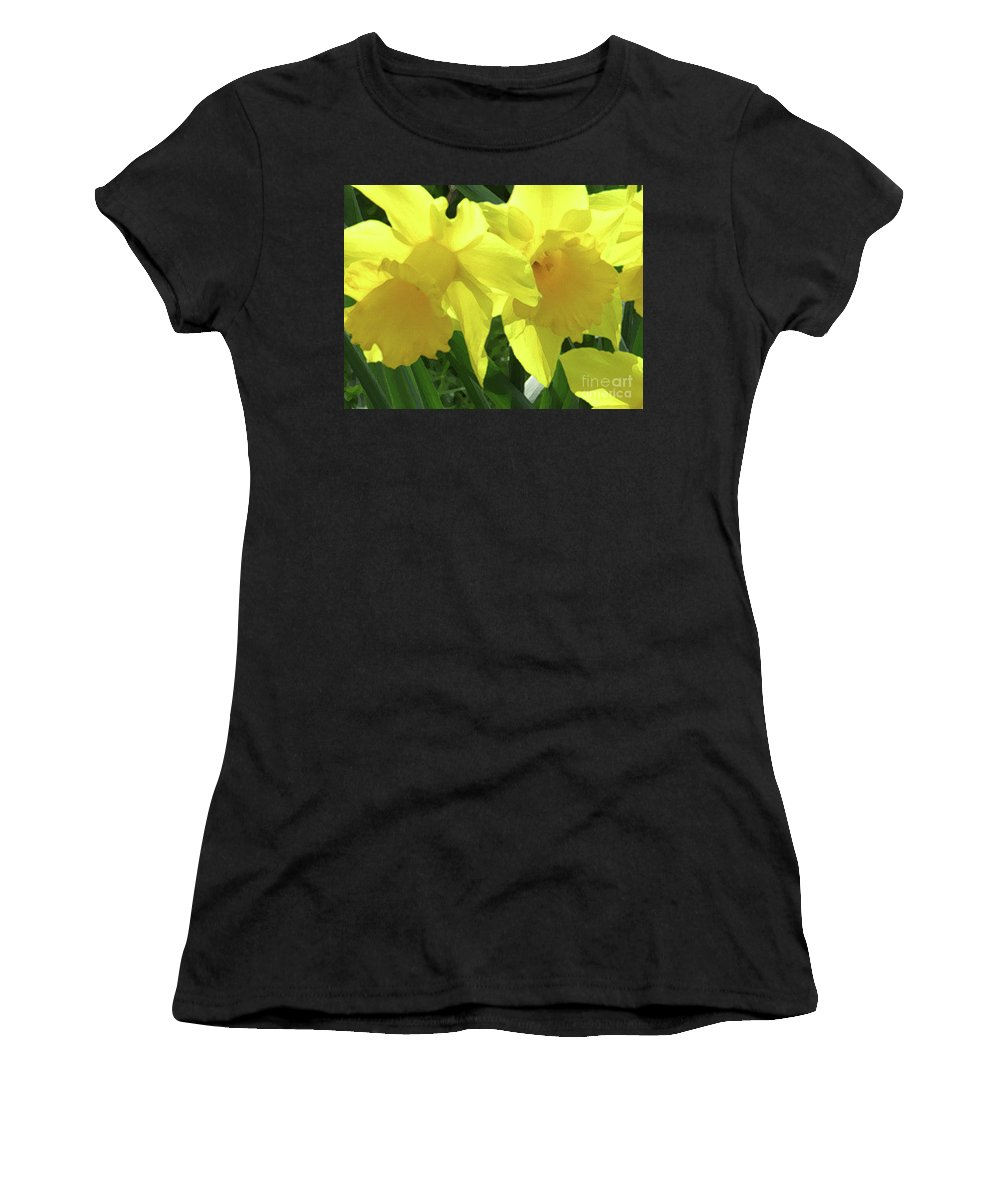 Daffodils Women's T-Shirt (Athletic Fit) featuring the photograph Sunshine Spring by Kim Tran