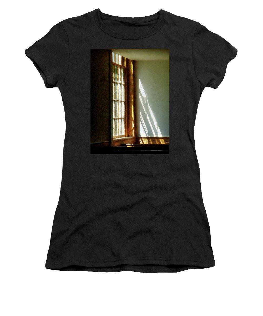 Church Women's T-Shirt featuring the photograph Sunshine Streaming Through Window by Susan Savad