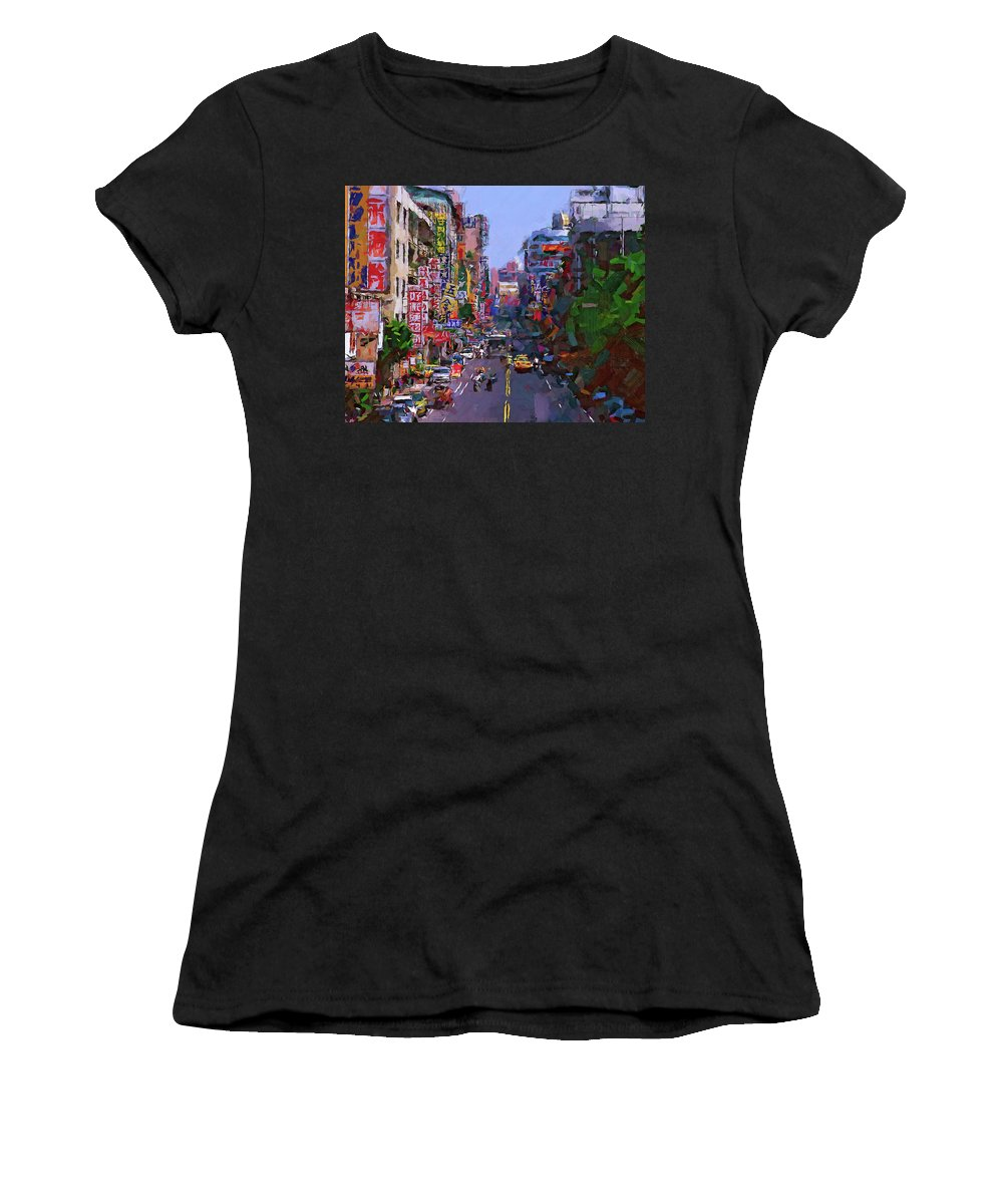 Hong Women's T-Shirt featuring the digital art Super Colorful City by Yury Malkov