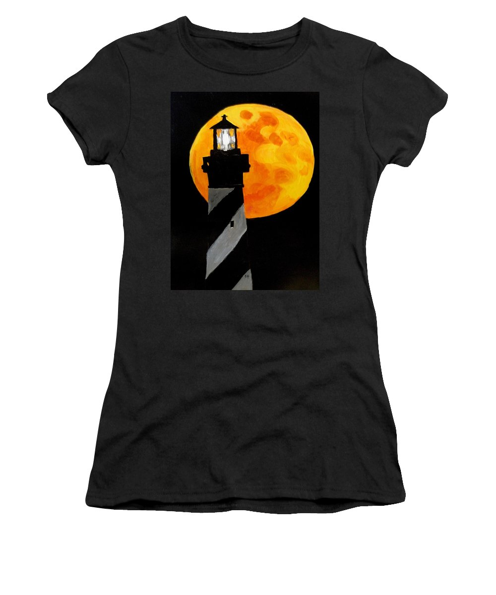 Moon Painting Women's T-Shirt featuring the painting Super Moon by Carol Blackhurst