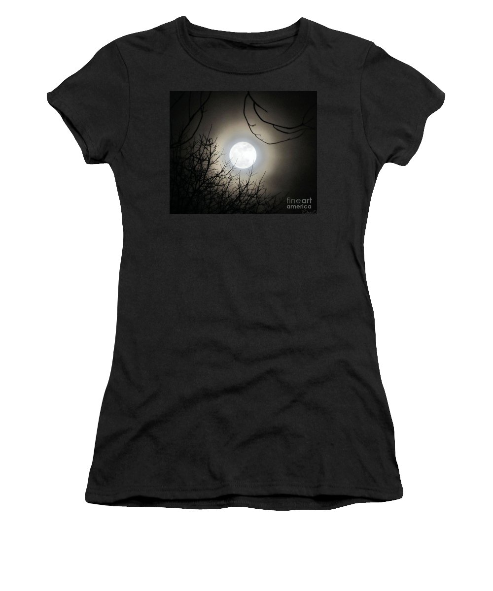 Supermoon Women's T-Shirt (Athletic Fit) featuring the photograph Super Moon by September Stone