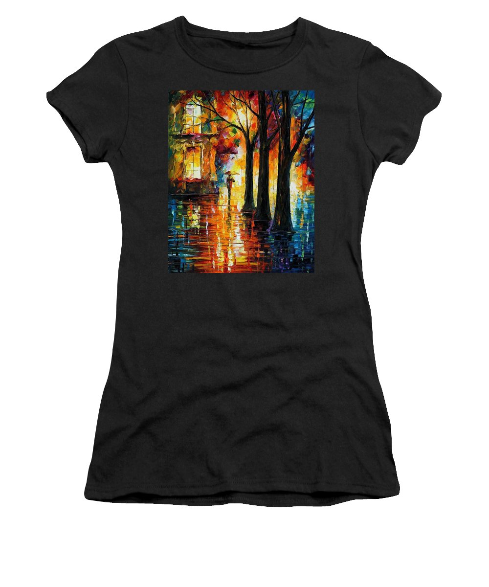 Afremov Women's T-Shirt (Athletic Fit) featuring the painting Suppressed Memories by Leonid Afremov