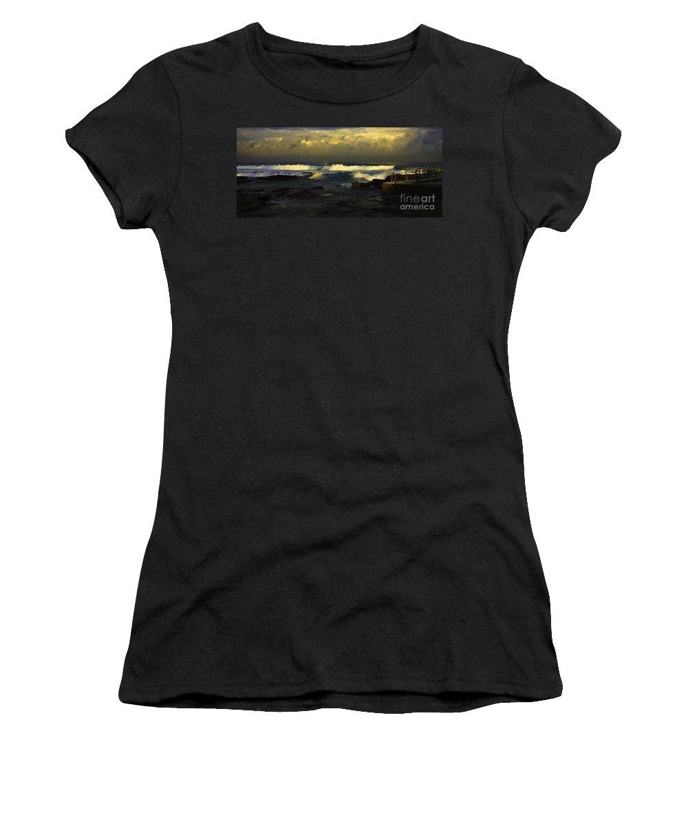 Landscape Seascape Surfing Surfer Storm Women's T-Shirt featuring the photograph Surfing The Storm by Sheila Smart Fine Art Photography