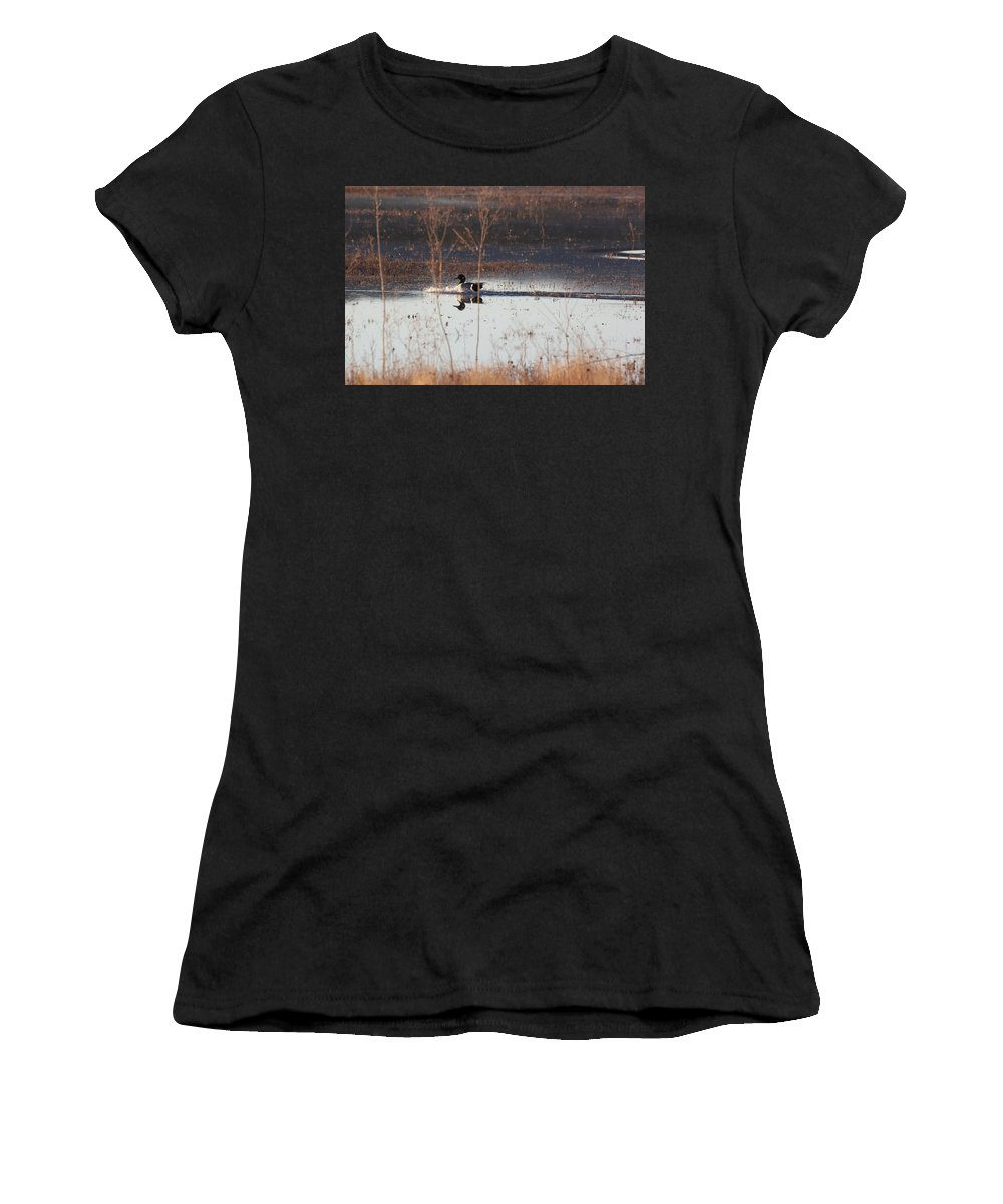 Photography Women's T-Shirt featuring the pyrography Surfs Up by Michael Lucarelli