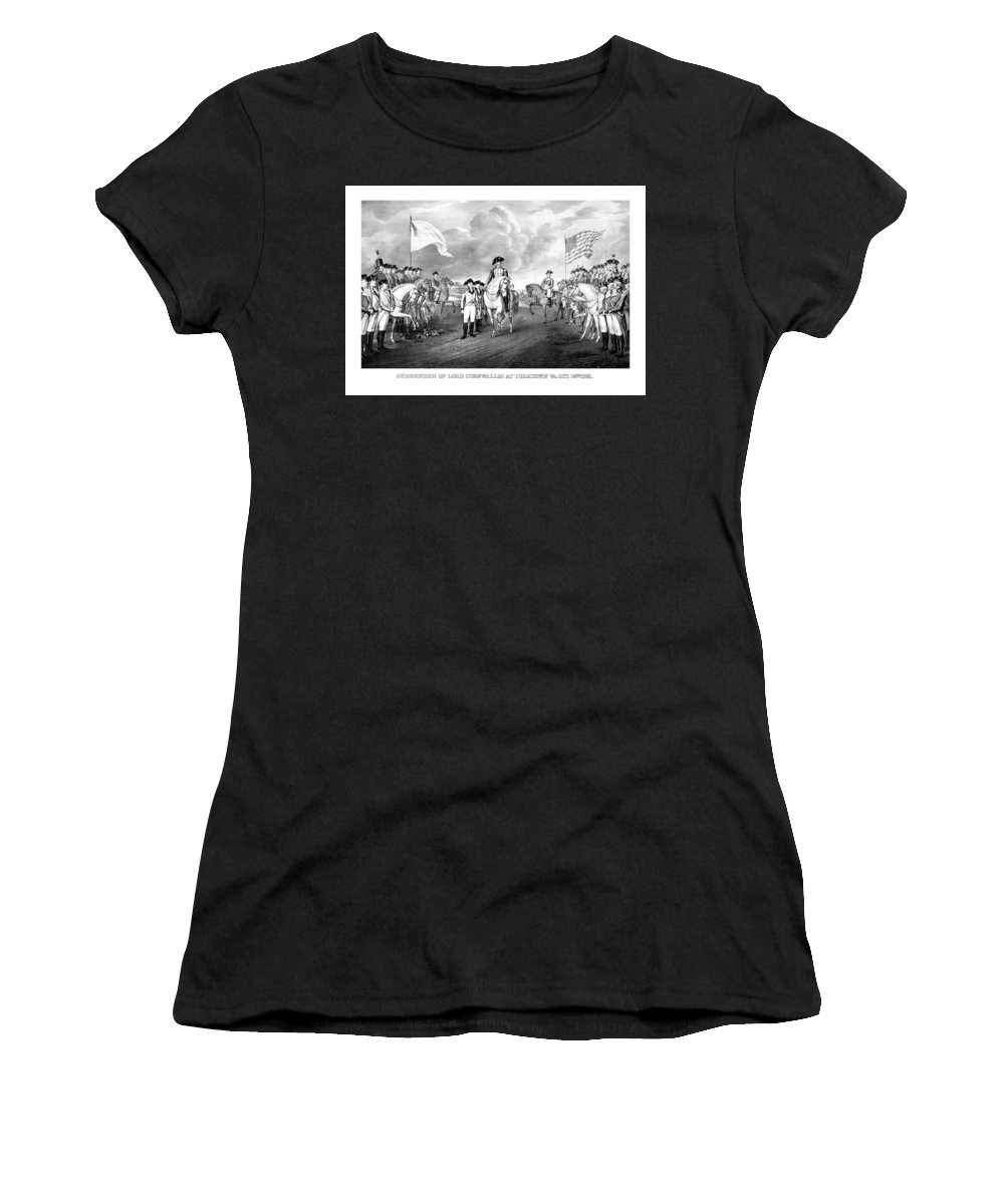George Washington Women's T-Shirt (Athletic Fit) featuring the mixed media Surrender Of Lord Cornwallis At Yorktown by War Is Hell Store