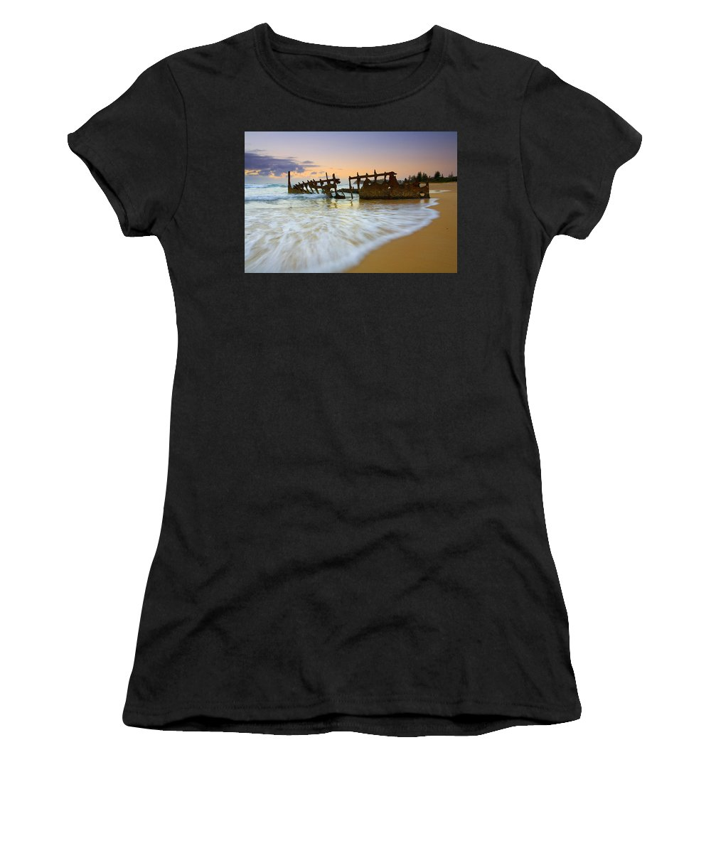 Shipwreck Women's T-Shirt (Athletic Fit) featuring the photograph Swallowed By The Tides by Mike Dawson