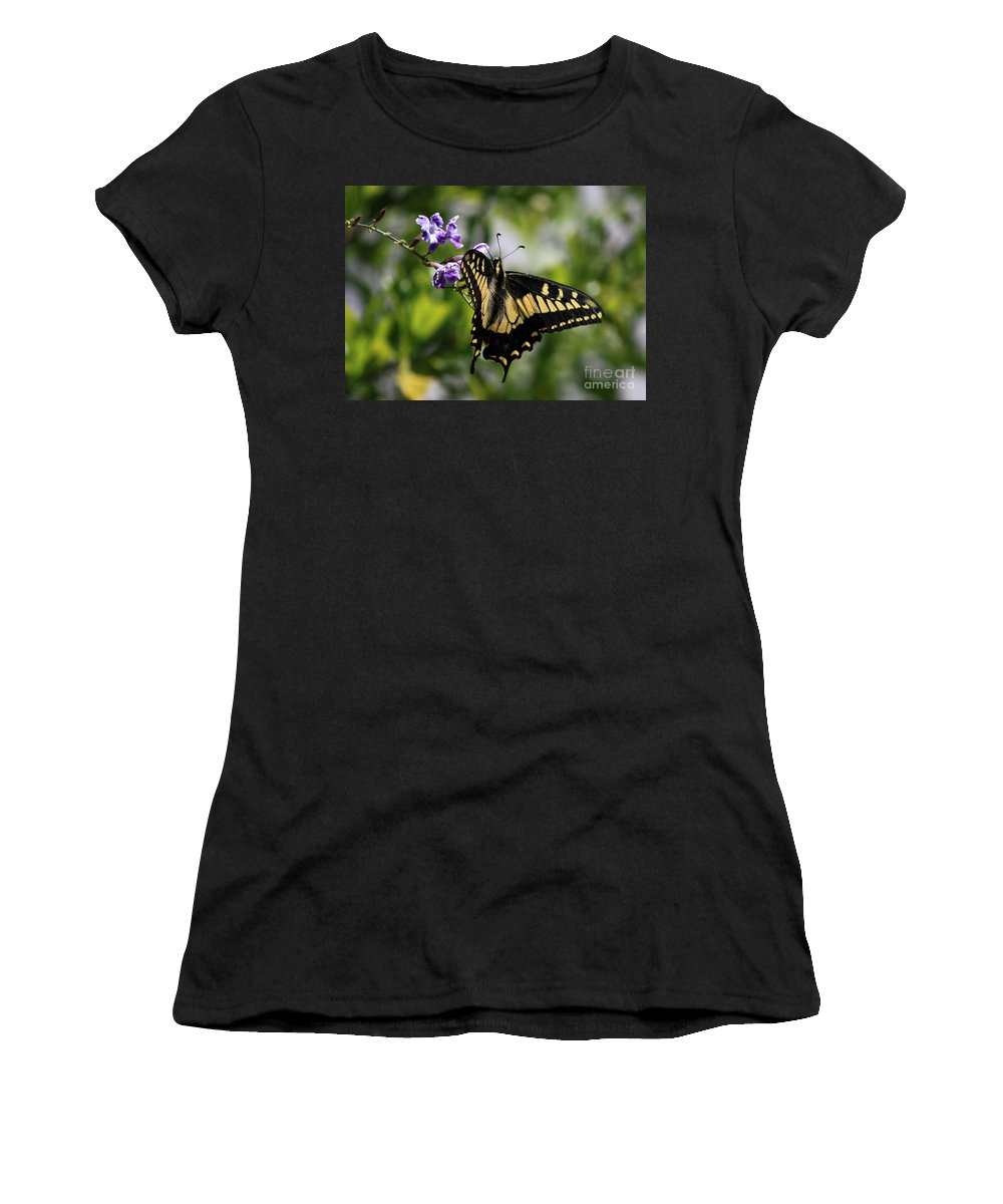 Swallowtail Butterfly Women's T-Shirt (Athletic Fit) featuring the photograph Swallowtail Butterfly 2 by Carol Groenen
