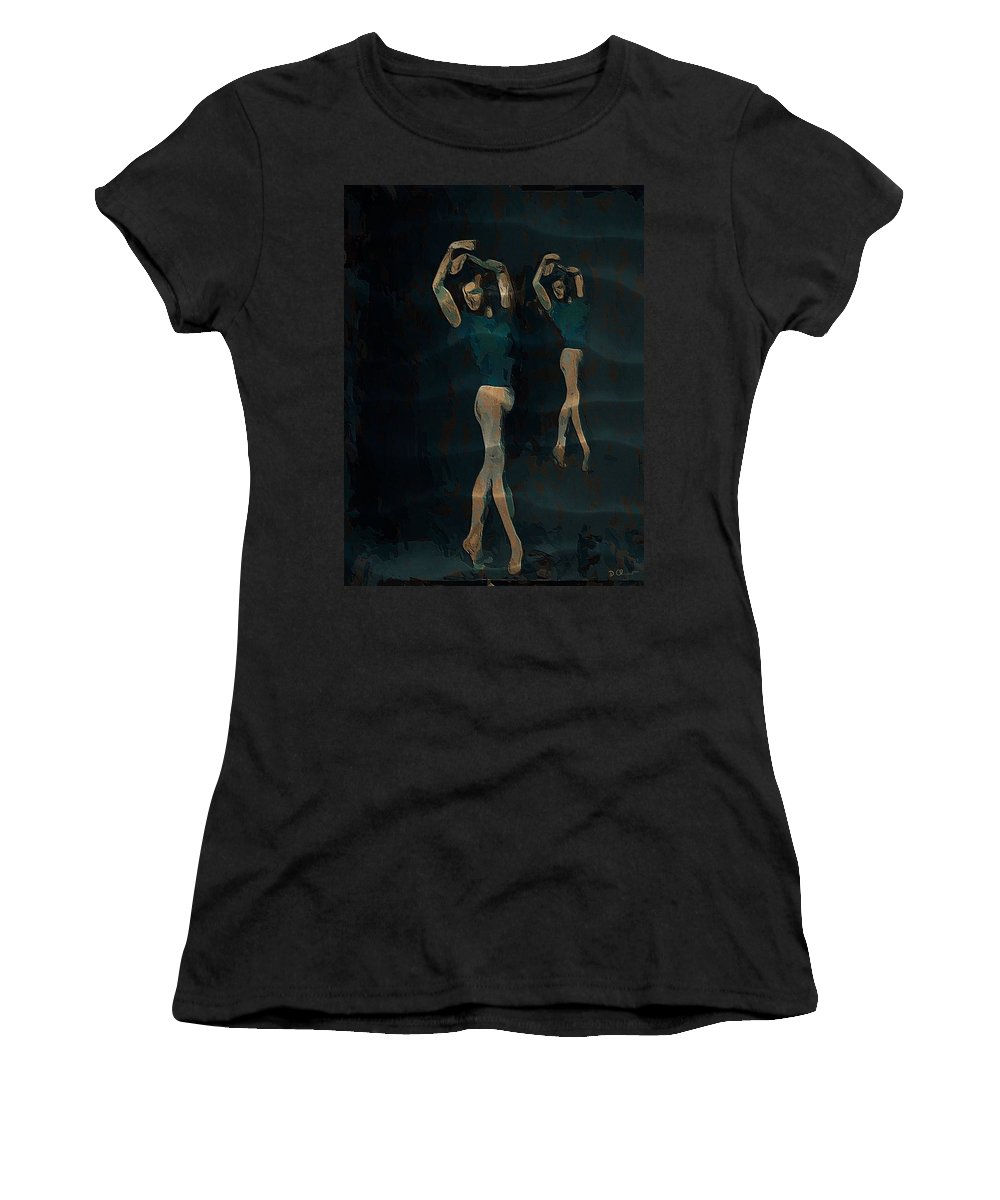 Ballet Women's T-Shirt (Athletic Fit) featuring the digital art Swan Lake by Donald Chandonnet