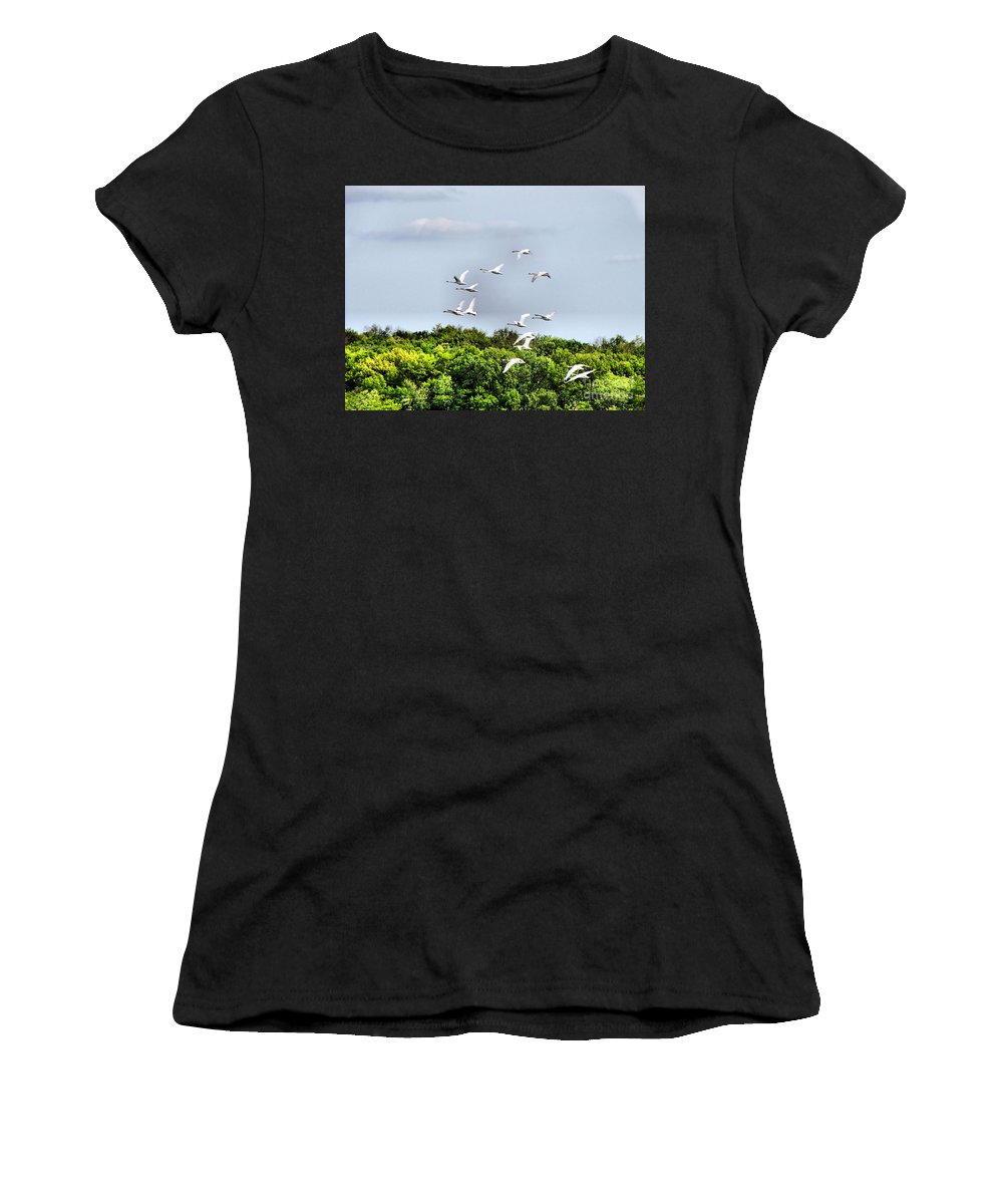 Swans Women's T-Shirt (Athletic Fit) featuring the photograph Swans In Flight by September Stone