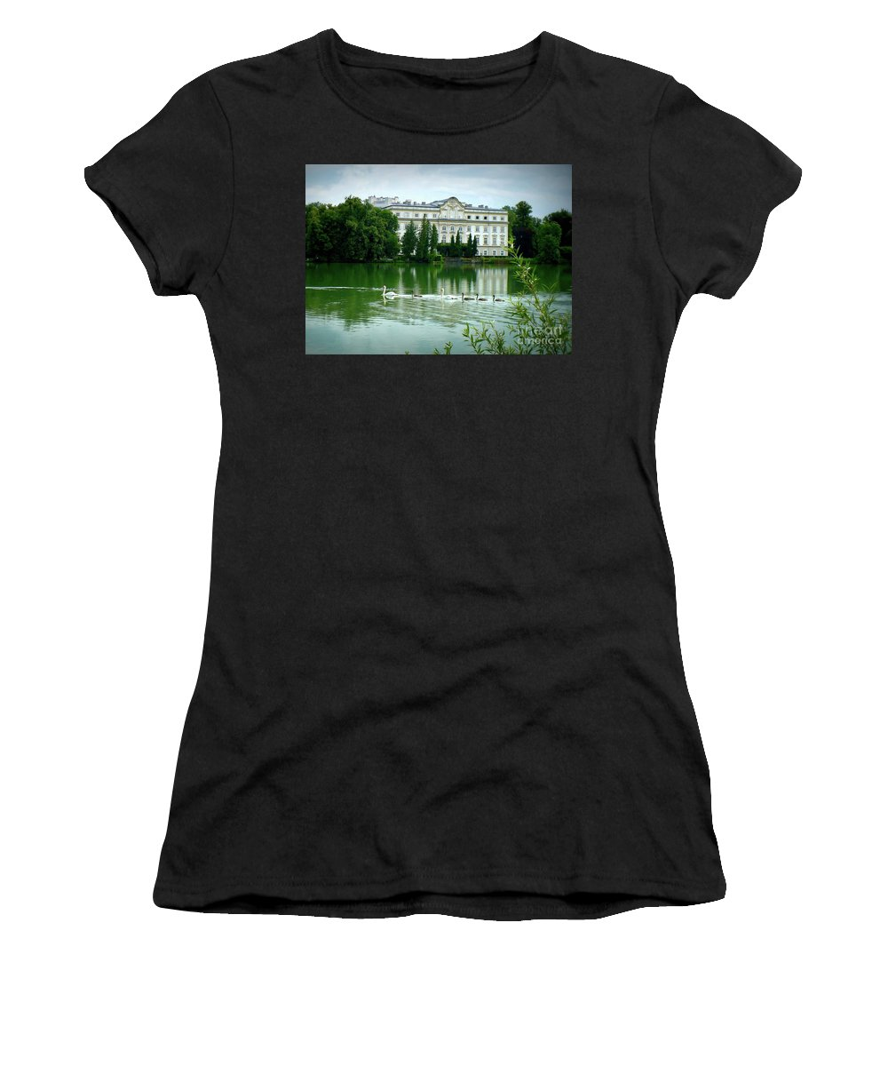 Austrian Lake Women's T-Shirt featuring the photograph Swans On Austrian Lake by Carol Groenen