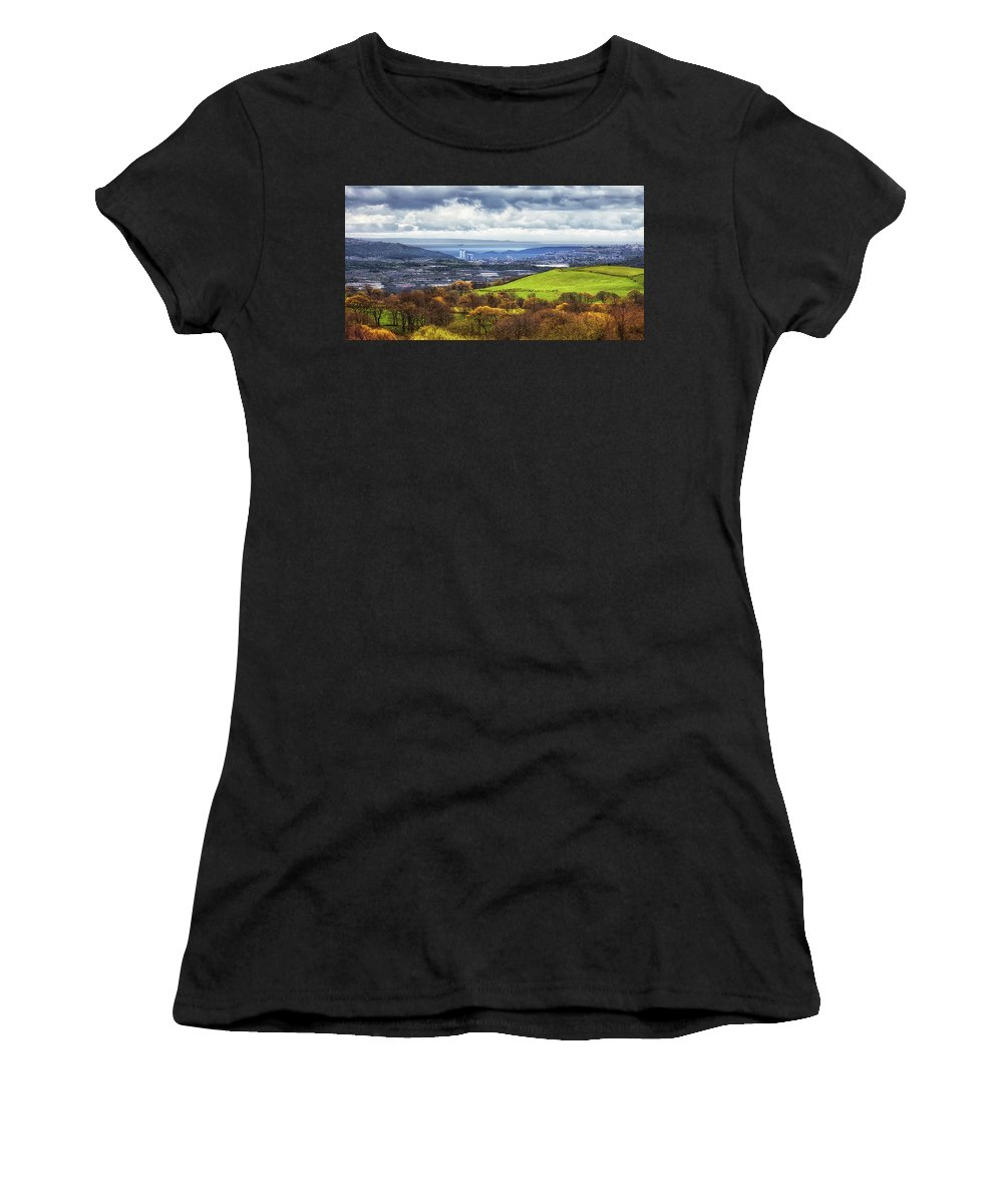 Swansea Women's T-Shirt (Athletic Fit) featuring the photograph Swansea And Mumbles by Leighton Collins