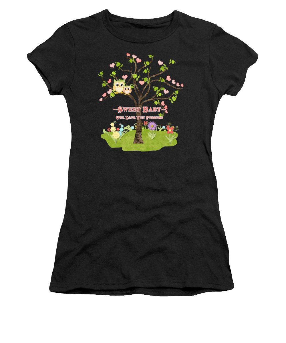 Owl Women's T-Shirt featuring the painting Sweet Baby - Owl Love You Forever Nursery by Audrey Jeanne Roberts
