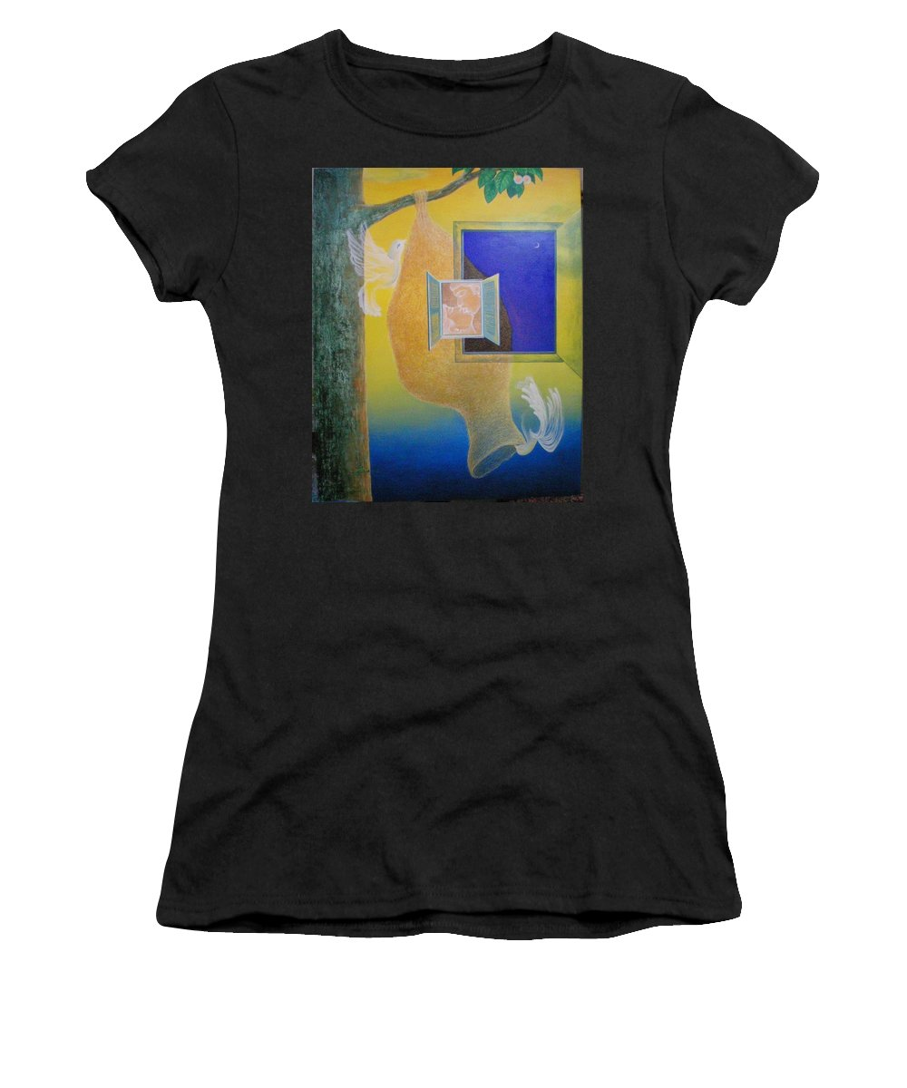Romantic Women's T-Shirt featuring the painting Sweet Home by Raju Bose