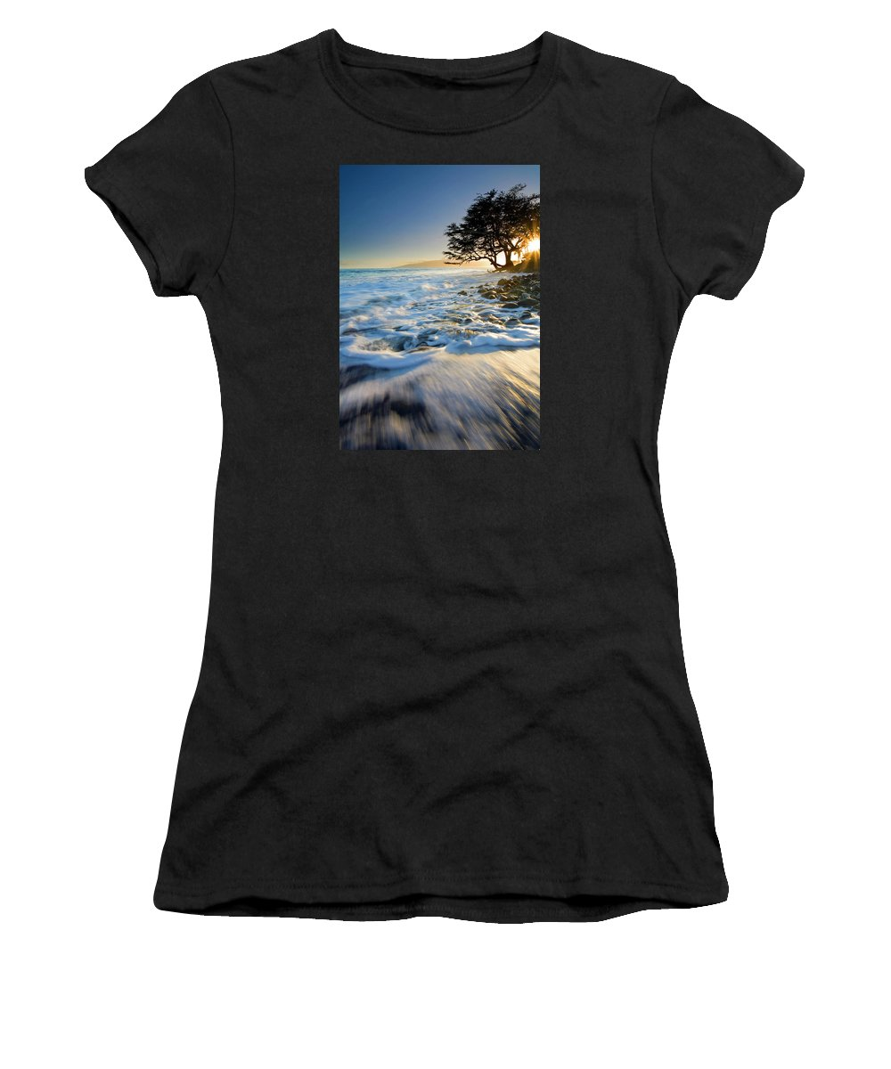 Sunset Women's T-Shirt (Athletic Fit) featuring the photograph Swept Out To Sea by Mike Dawson