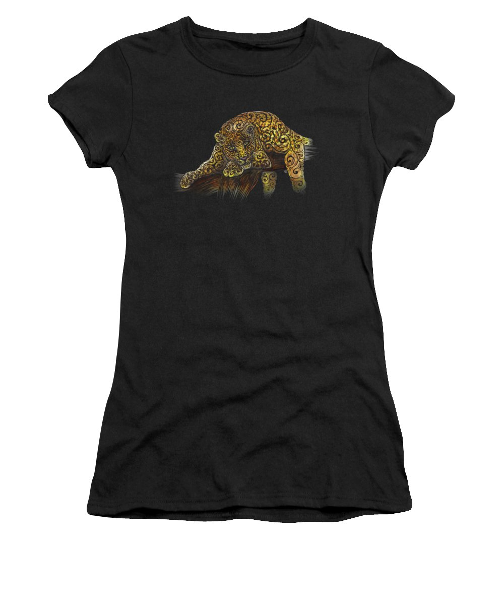 Swirly Women's T-Shirt (Athletic Fit) featuring the mixed media Swirly Leopard by Carolina Matthes