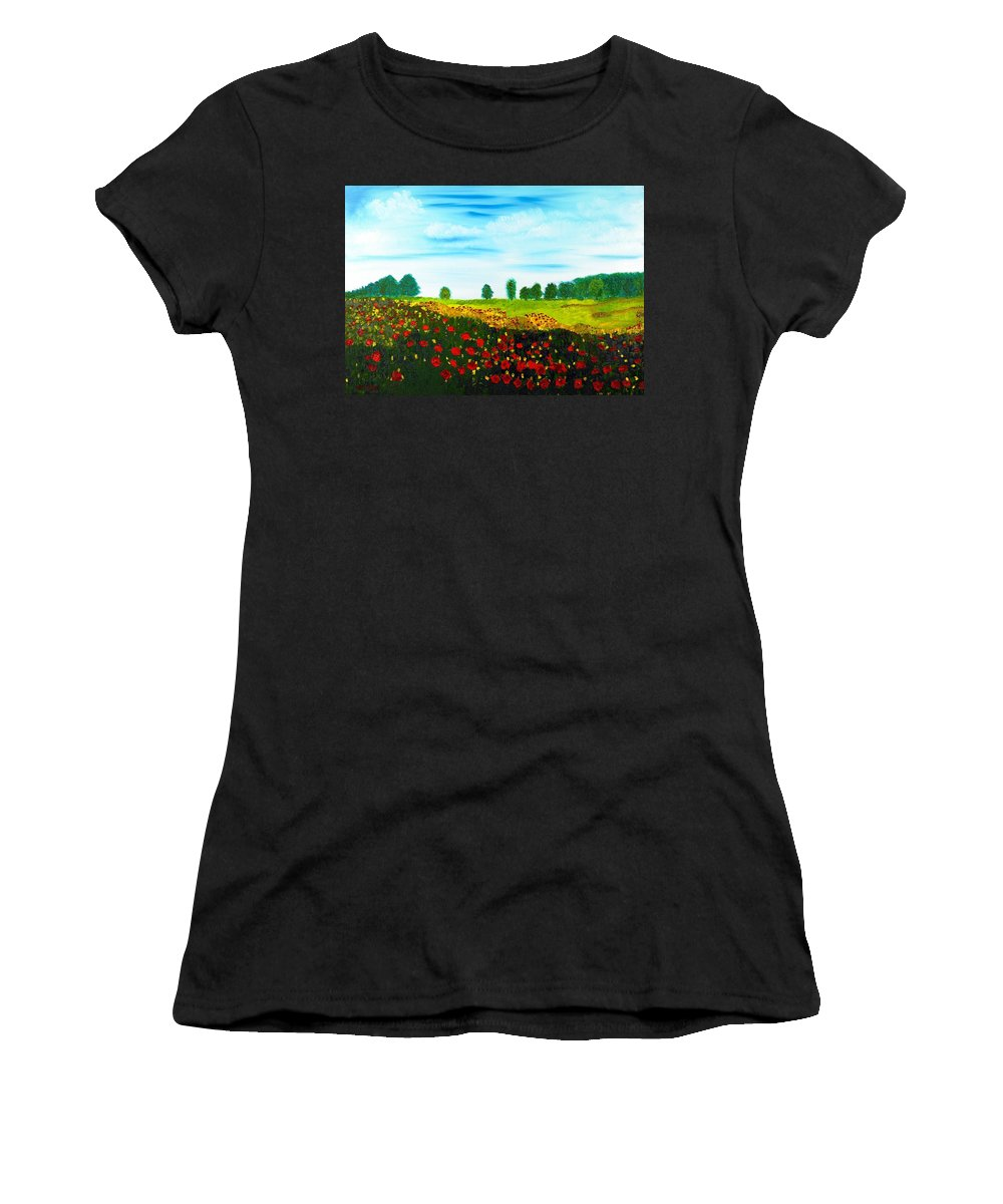 Landscape Women's T-Shirt (Athletic Fit) featuring the painting Swiss Poppies by Valerie Ornstein