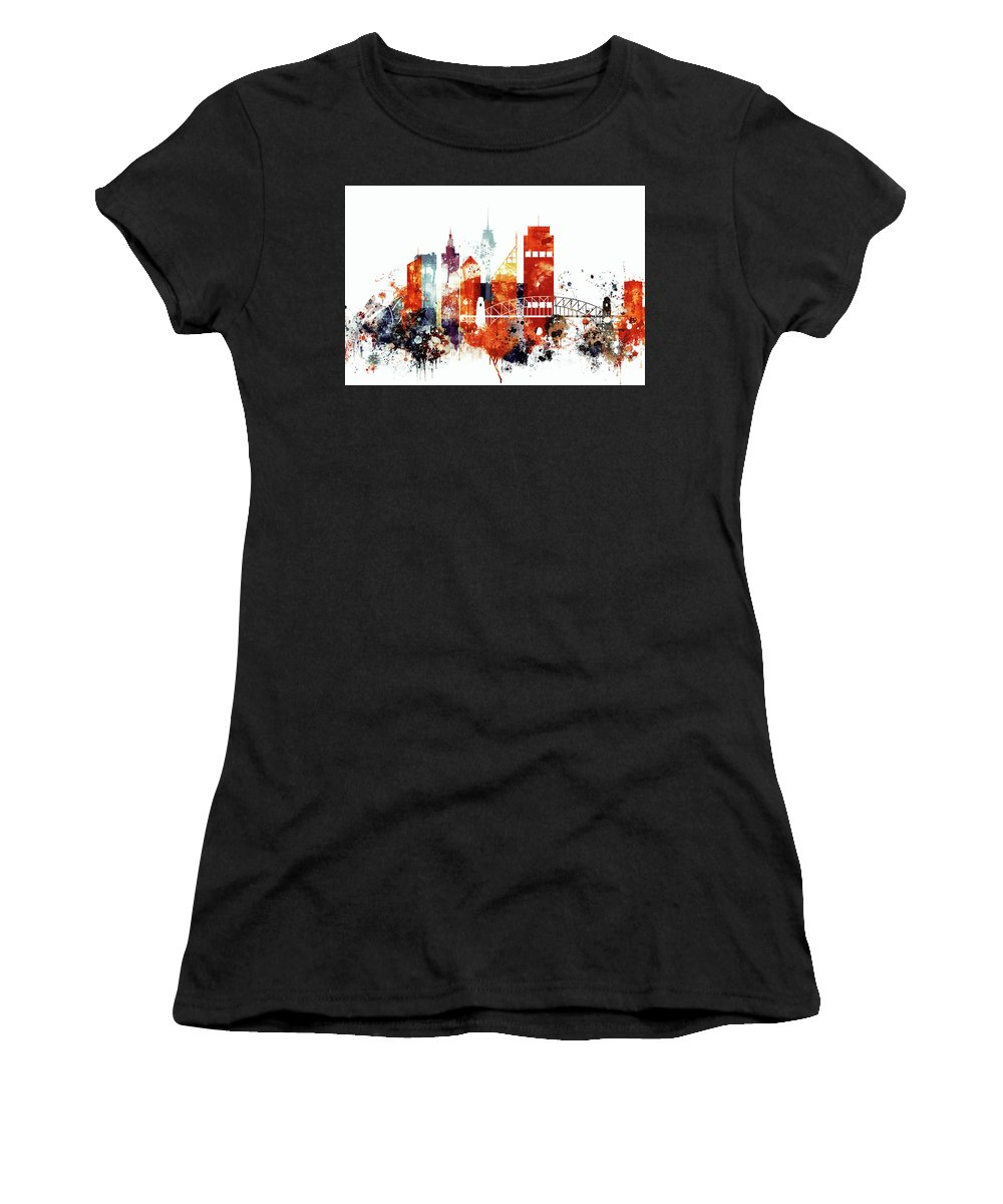 Sydney Women's T-Shirt (Athletic Fit) featuring the painting Sydney Cityscape by Dim Dom