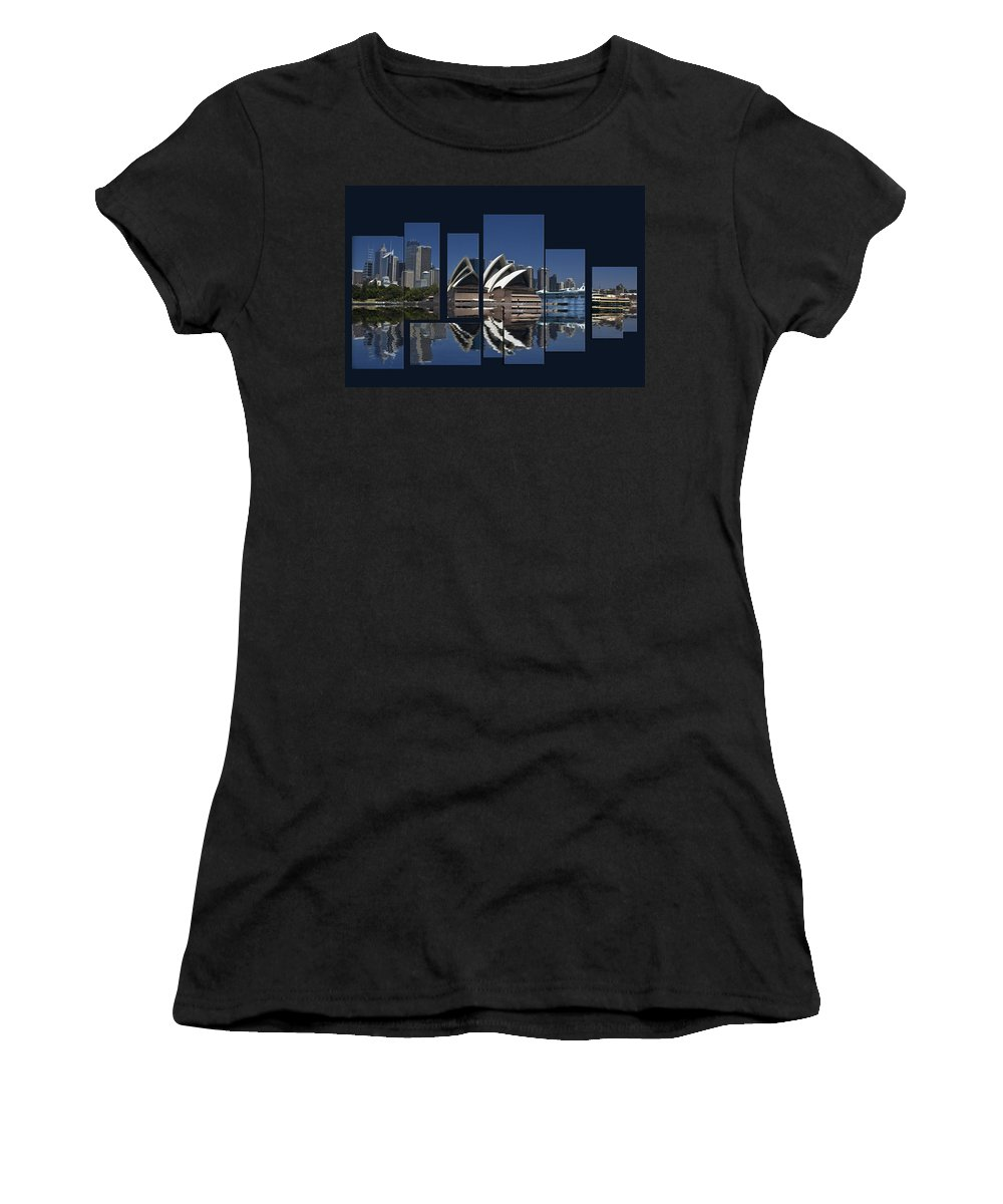 Sydney Harbour Women's T-Shirt (Athletic Fit) featuring the photograph Sydney Harbour Collage by Sheila Smart Fine Art Photography
