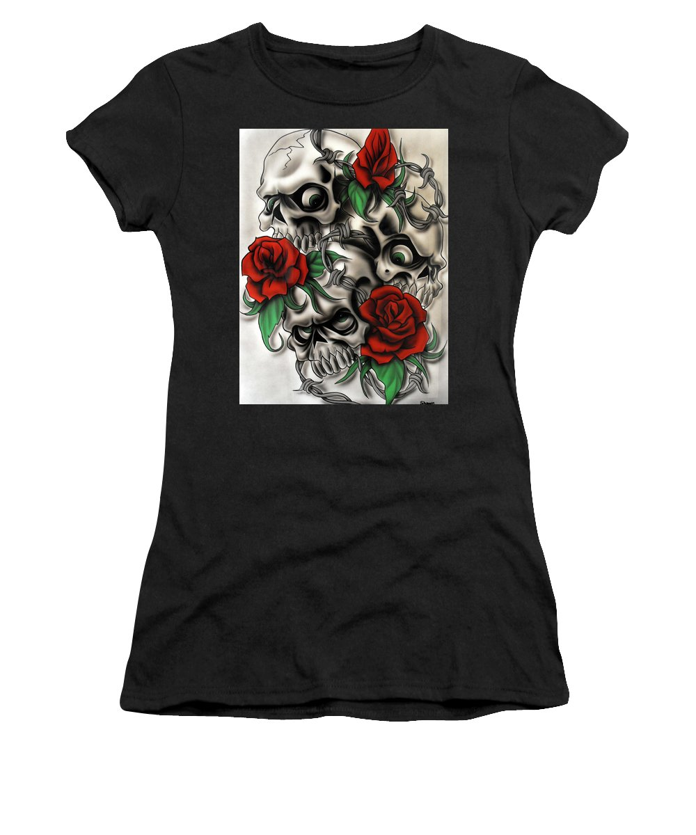 Airbrush Women's T-Shirt (Athletic Fit) featuring the painting Syfy- Skulls by Shawn Palek