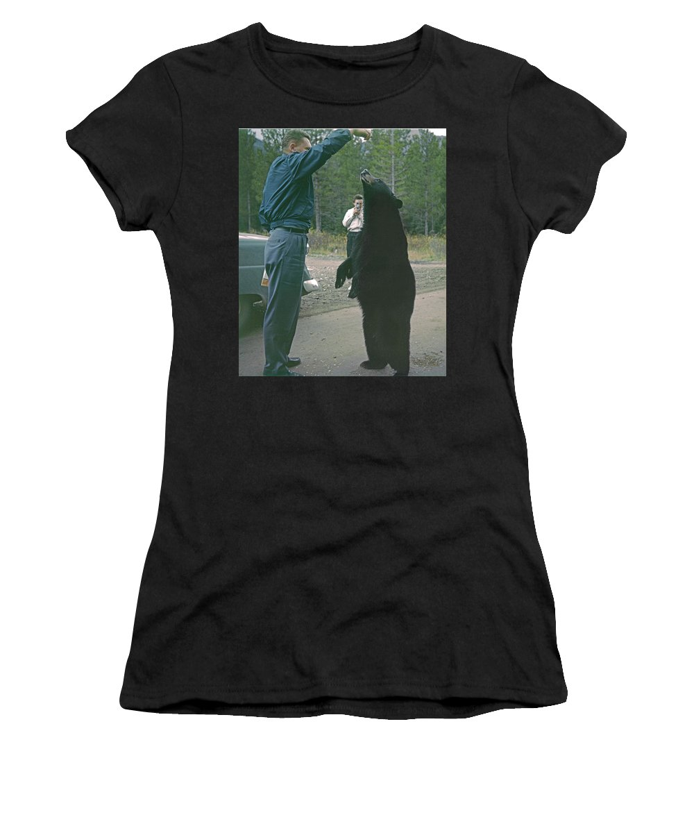 Bear Feeding Women's T-Shirt (Athletic Fit) featuring the photograph T-203503 Bear Feeding In The Old Days by Ed Cooper Photography