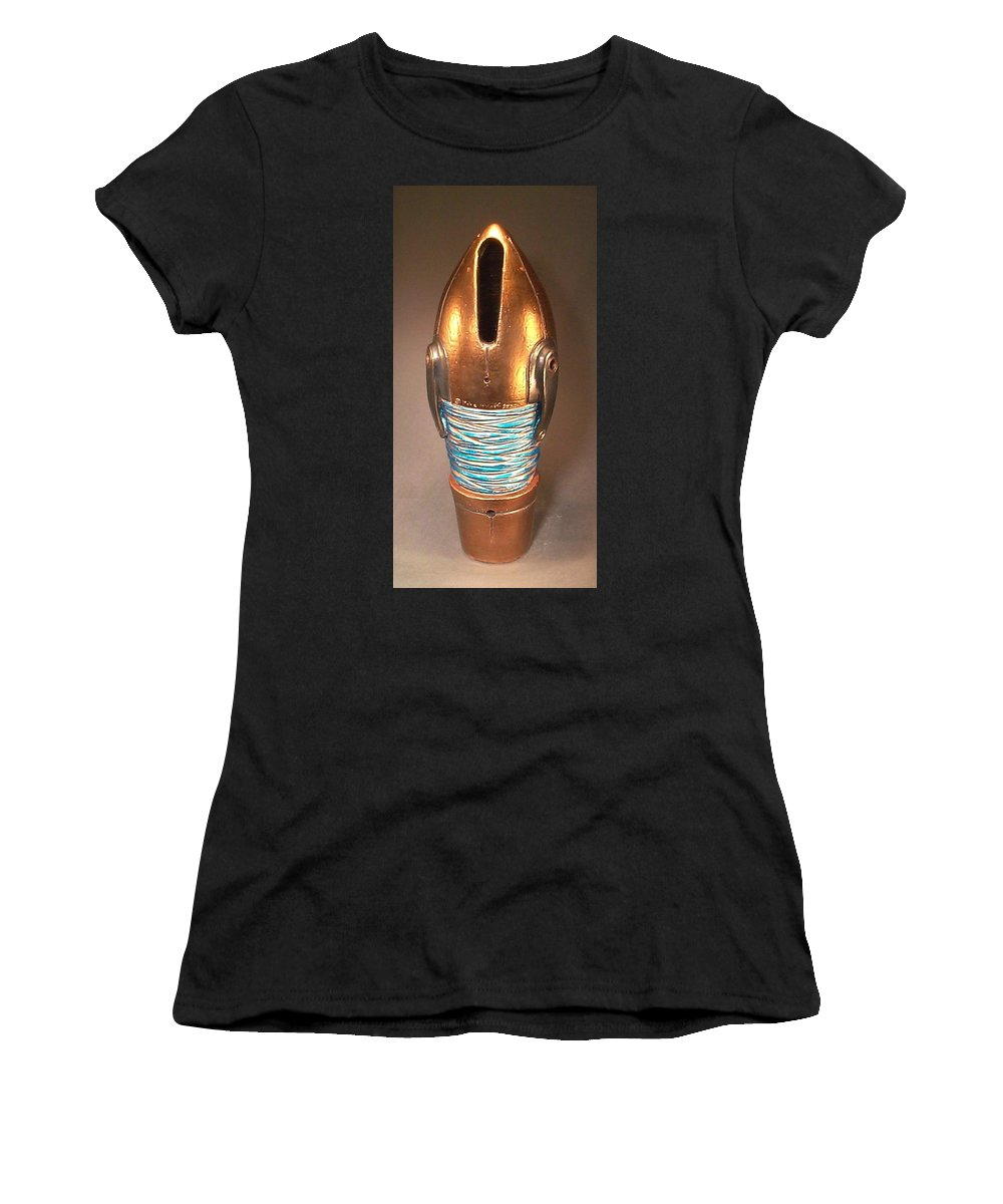 Clay Women's T-Shirt (Athletic Fit) featuring the ceramic art T - Minus 10 To Mars by Mike McGoff