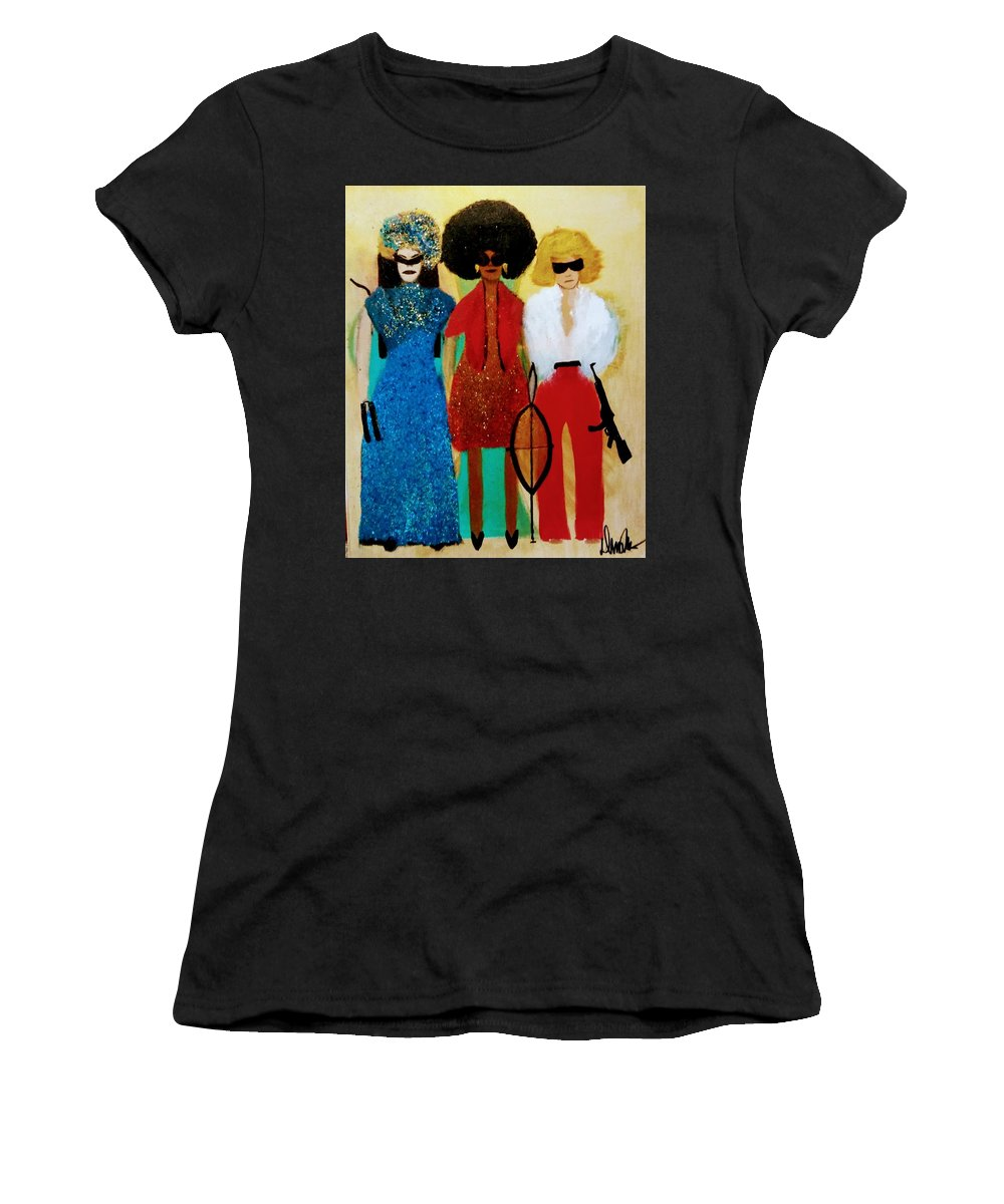 Women's T-Shirt featuring the painting Tag Team Against Crime by Demitri Norris