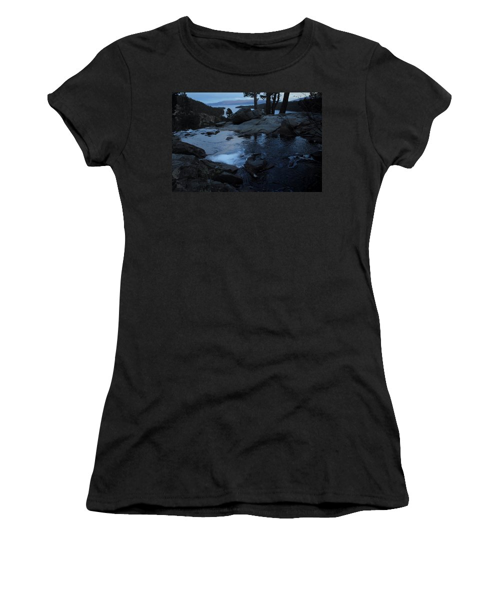 Lake Tahoe Women's T-Shirt (Athletic Fit) featuring the photograph Tahoe Twilight by Donna Blackhall