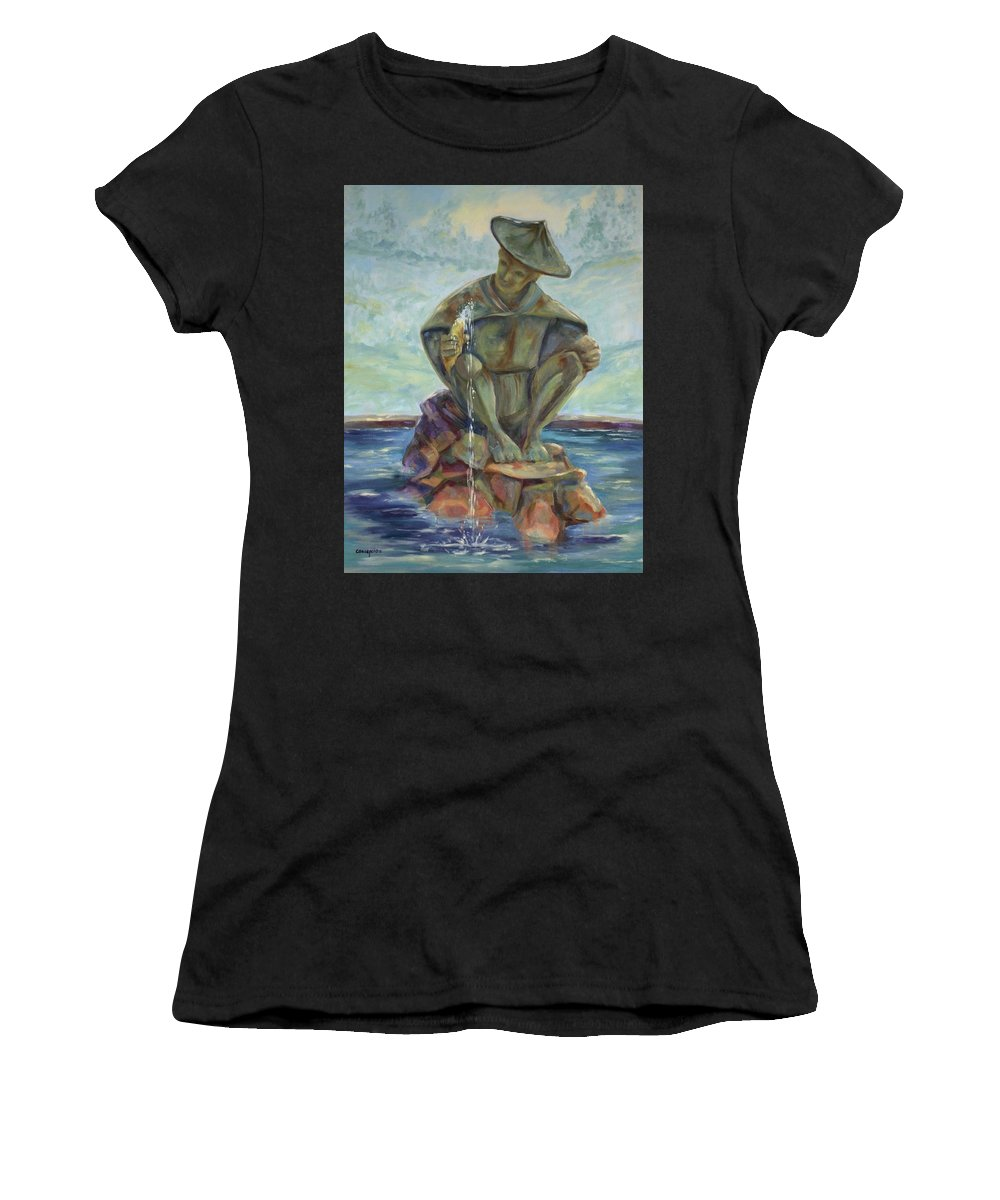 Landscape Women's T-Shirt (Athletic Fit) featuring the painting Taipei Fountain by Ginger Concepcion