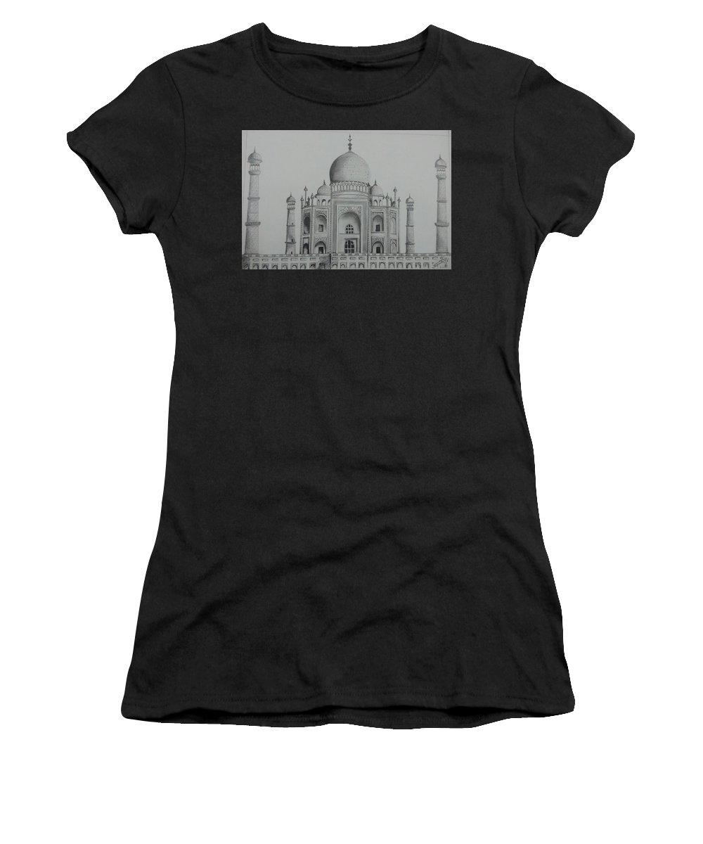 Women's T-Shirt (Athletic Fit) featuring the drawing Taj Mahal by Anirudh Maheshwari