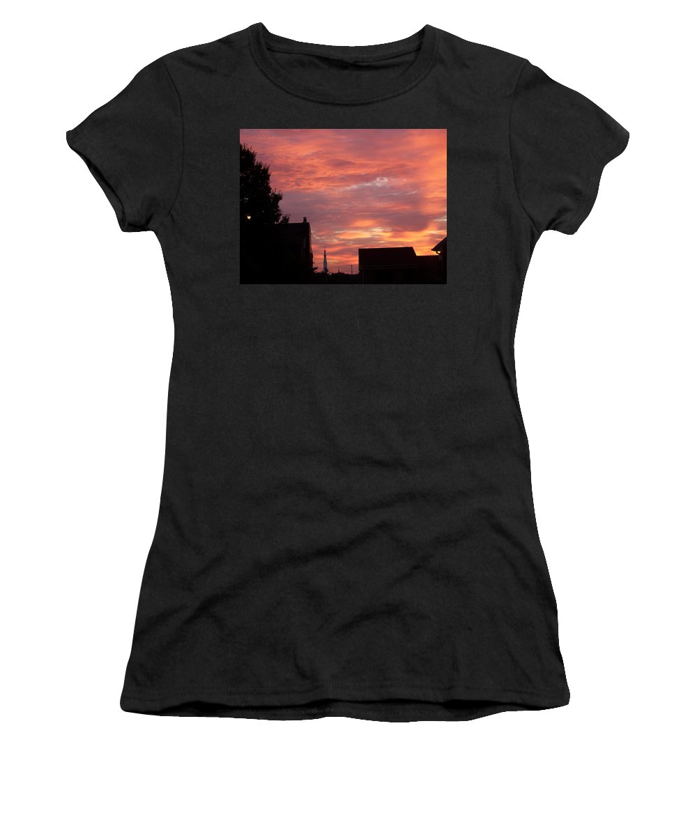 Saturn Moon Rocket Women's T-Shirt (Athletic Fit) featuring the photograph Take Me To The Moon by Larry Wright